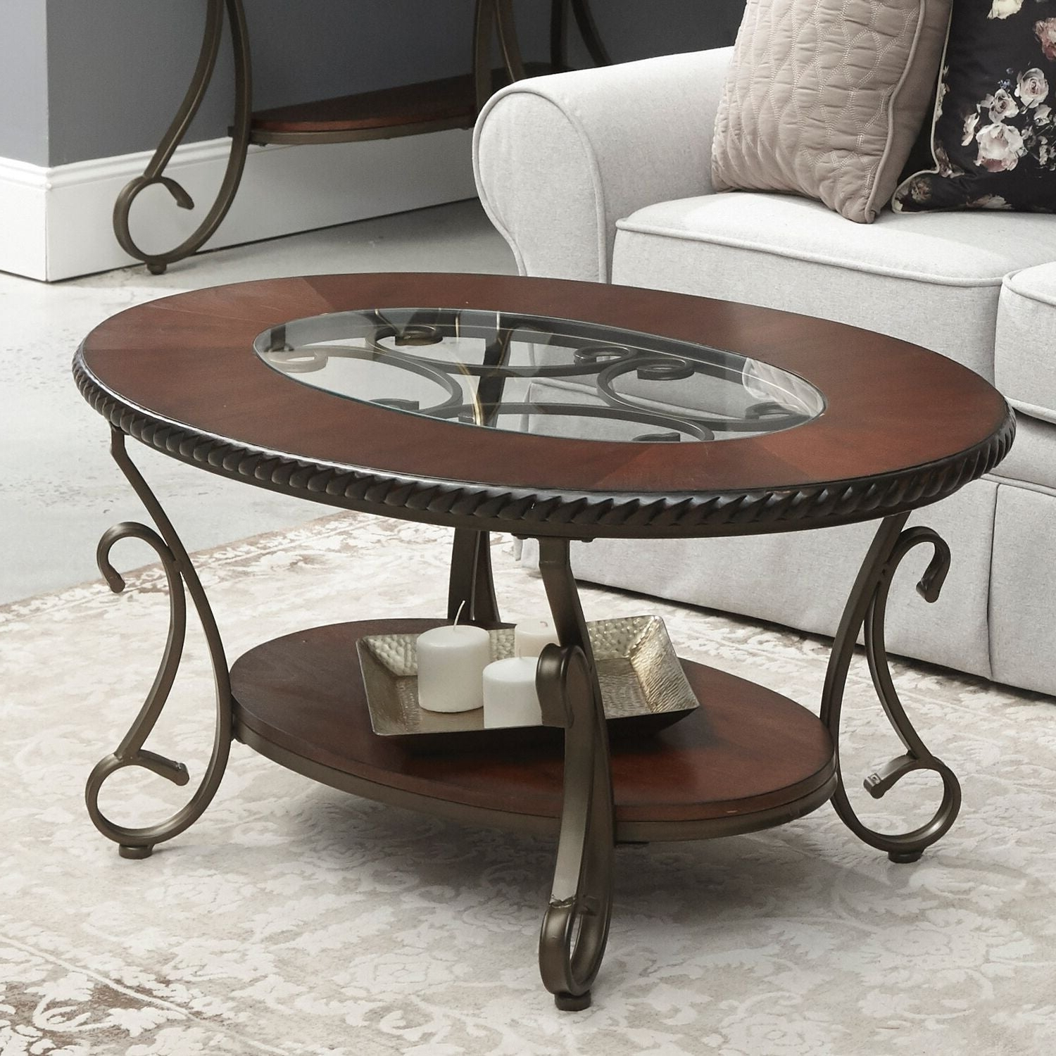 2019 Gracewood Hollow Fishta Antique Brass Metal Glass 3 Piece Tables Regarding Home Source Cragin Coffee Table With Glass Inset – Dark Finish – 45.3 In  Wide X 29.5 In Deep X 21.6 In High (Gallery 18 of 20)