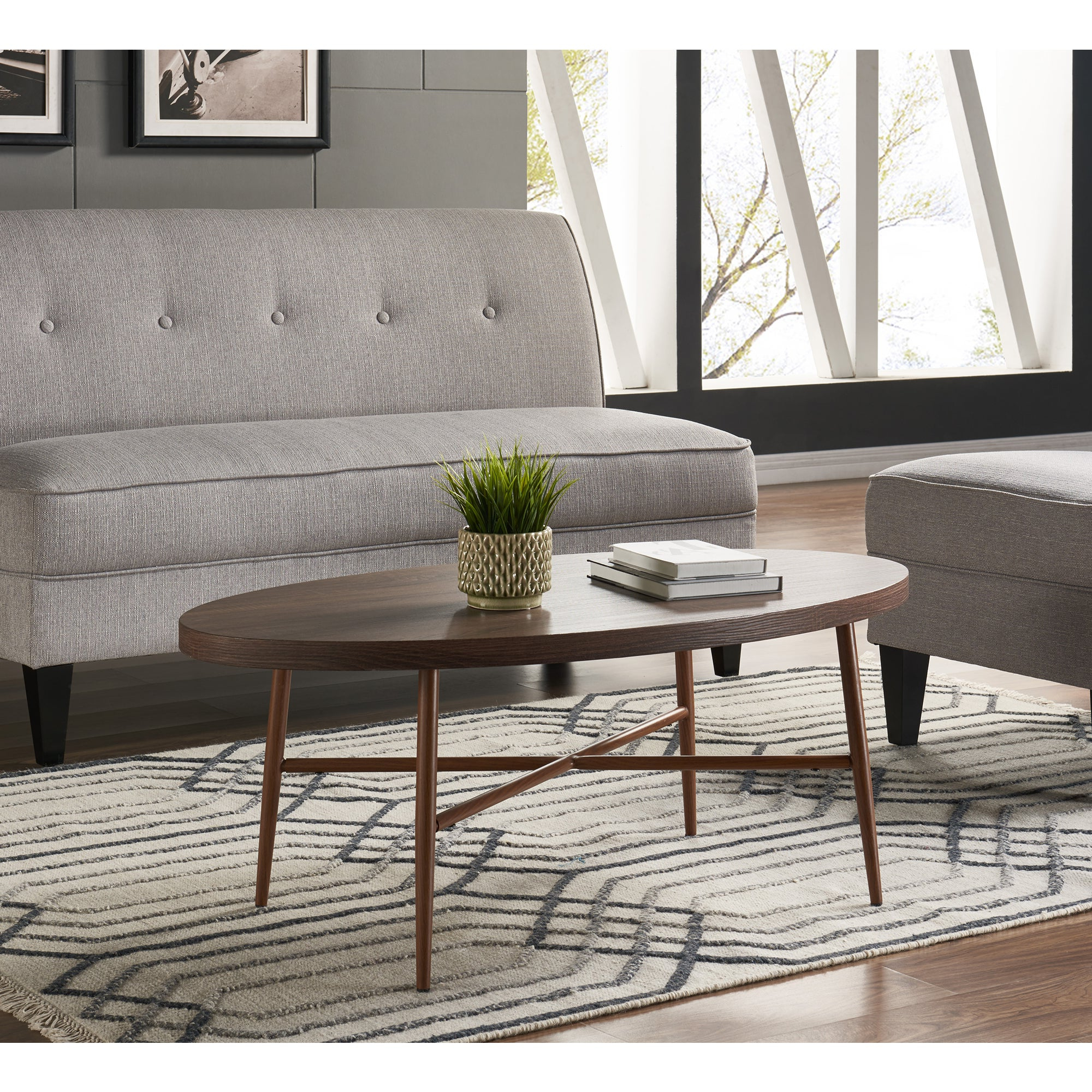 2019 Handy Living Miami White Oval Coffee Tables With Brown Metal Legs Within Handy Living Miami Brown Oval Coffee Table With Brown Metal Legs (View 8 of 20)