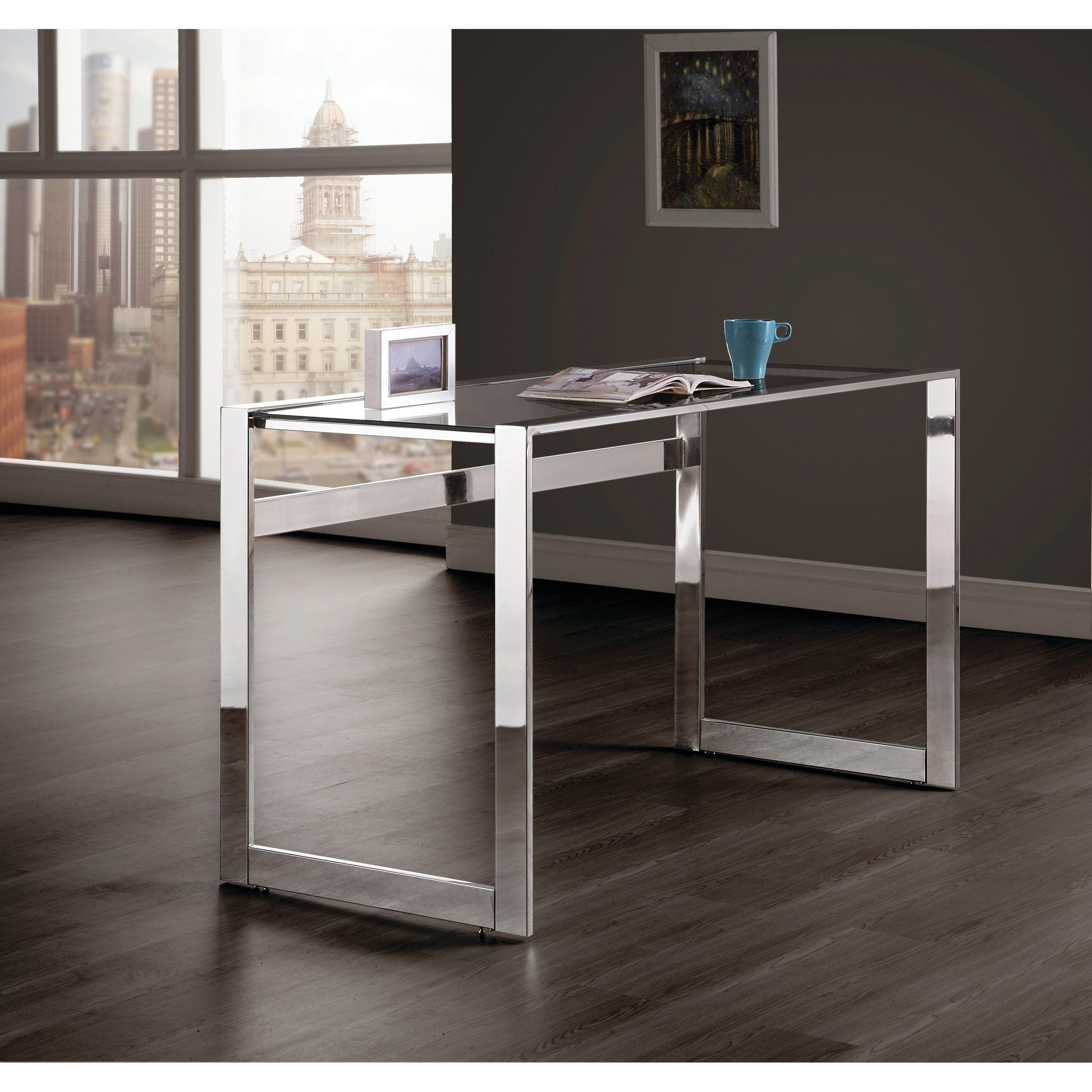 2019 Silver Orchid Ipsen Contemporary Glass Top Coffee Tables In Silver Orchid Ipsen Modern Chrome And Glass Top Writing Desk (Gallery 6 of 20)
