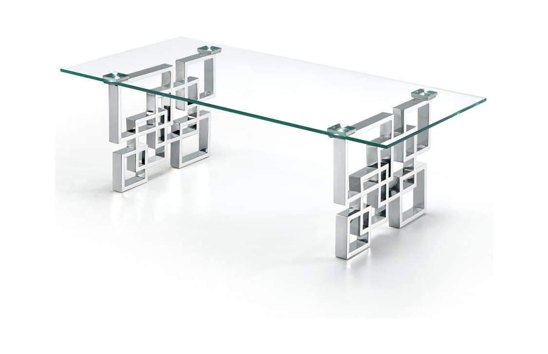 2019 Strata Chrome Glass Coffee Tables Intended For Alexis Chrome Top Glass Coffee Tablemeridian Furniture (Gallery 14 of 20)