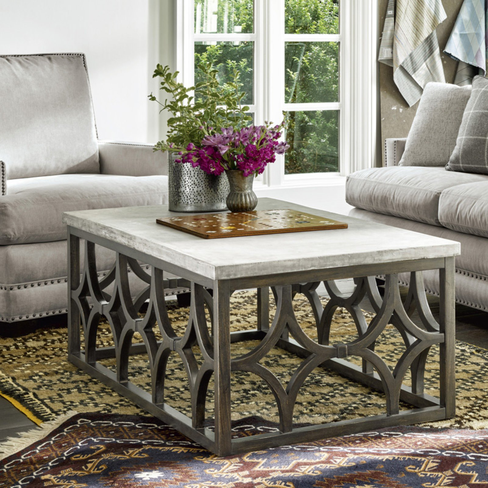 2019 The Curated Nomad Quatrefoil Goldtone Metal And Glass Coffee Tables Pertaining To Universal Furniture Foulard Cocktail Table (View 1 of 20)