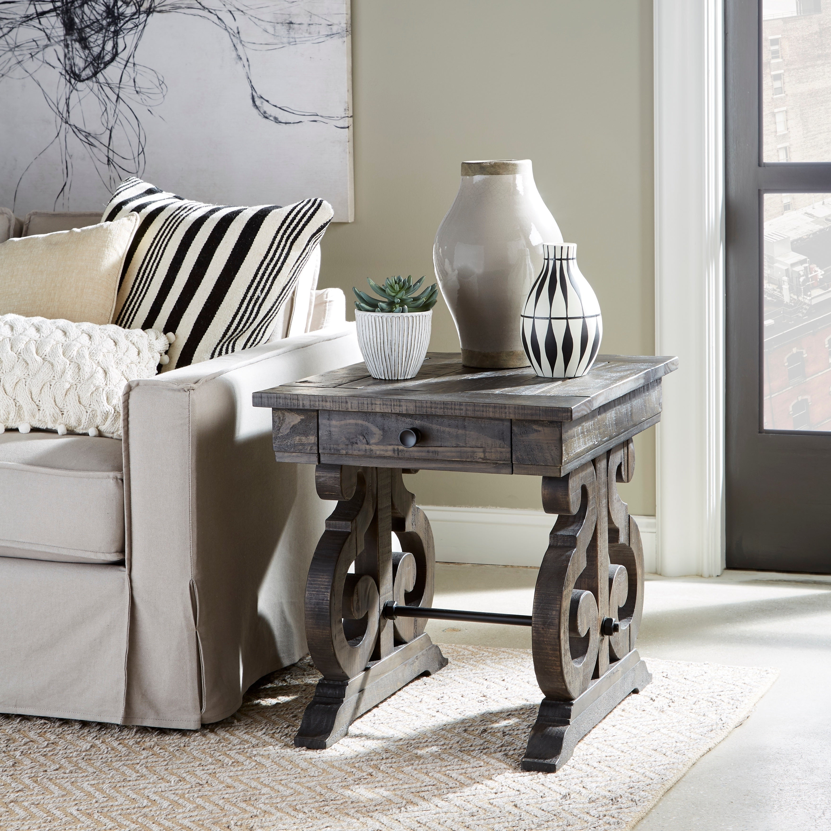 2020 Bellamy Traditional Weathered Peppercorn Storage Coffee Tables For Bellamy Traditional Weathered Peppercorn Storage End Table (View 2 of 20)