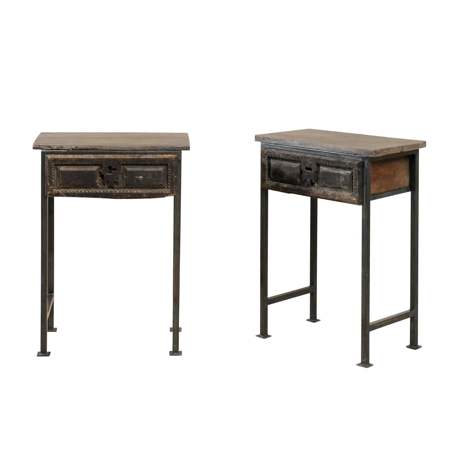 2020 Burnham Reclaimed Wood And Iron Round Coffee Tables Regarding Side Tables ~ Iron And Wood Side Table Pair Of Century (View 16 of 20)