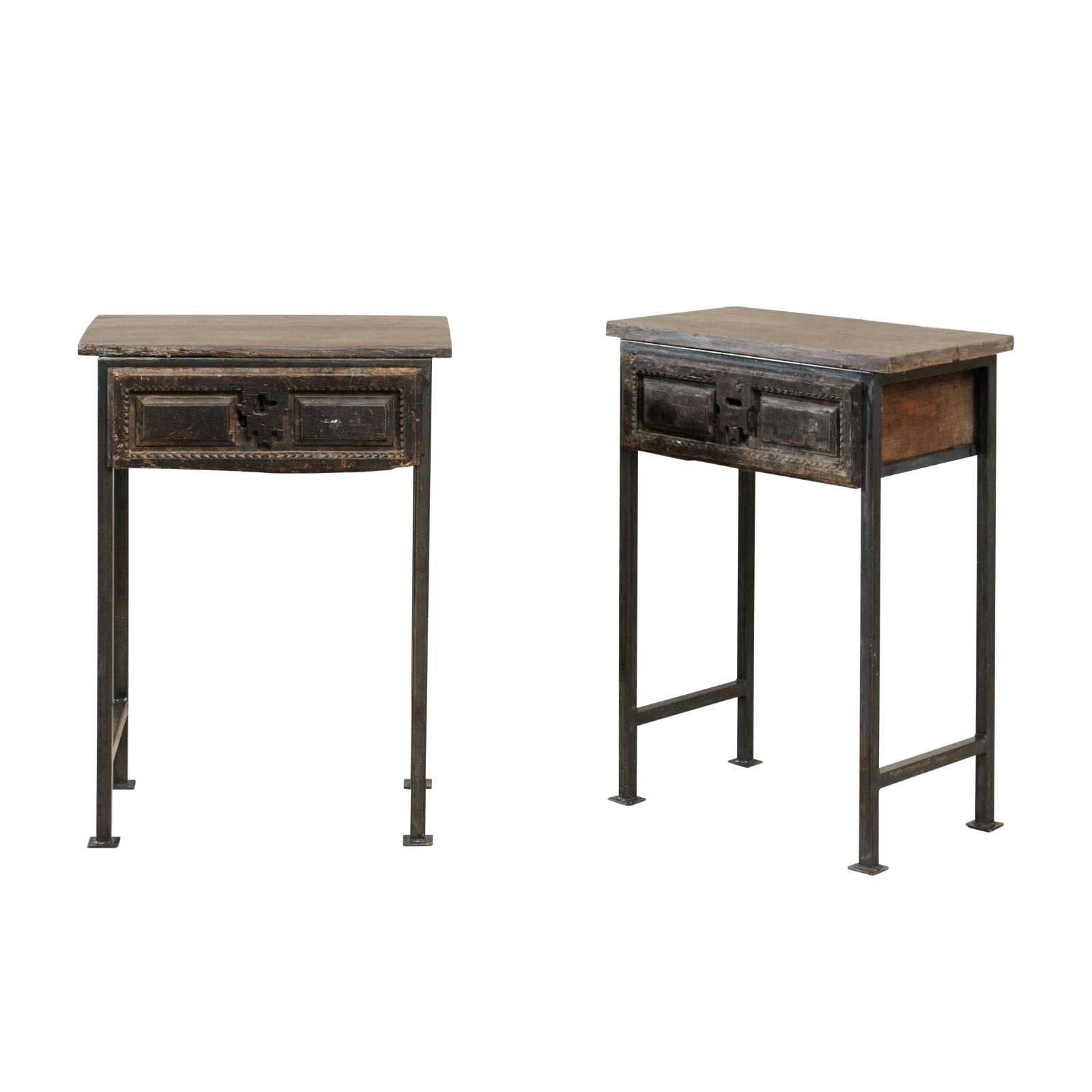 2020 Burnham Reclaimed Wood And Iron Round Coffee Tables Regarding Side Tables ~ Iron And Wood Side Table Pair Of Century (View 1 of 20)
