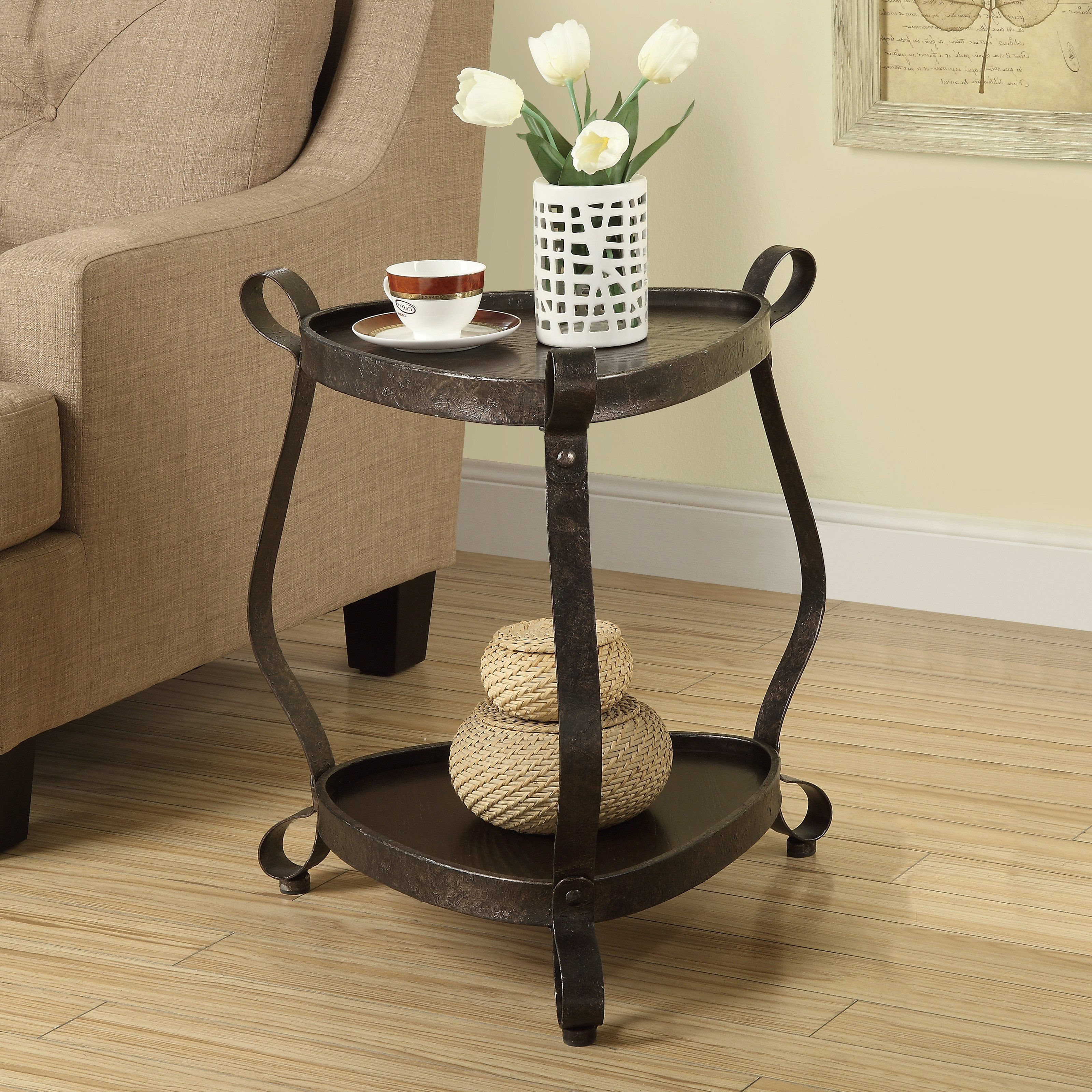 2020 Carbon Loft Fischer Brown Solid Birch And Iron Rustic Coffee Tables Pertaining To Monarch I 3319 Metal Veneer Top Accent Table – Bronze (View 2 of 20)