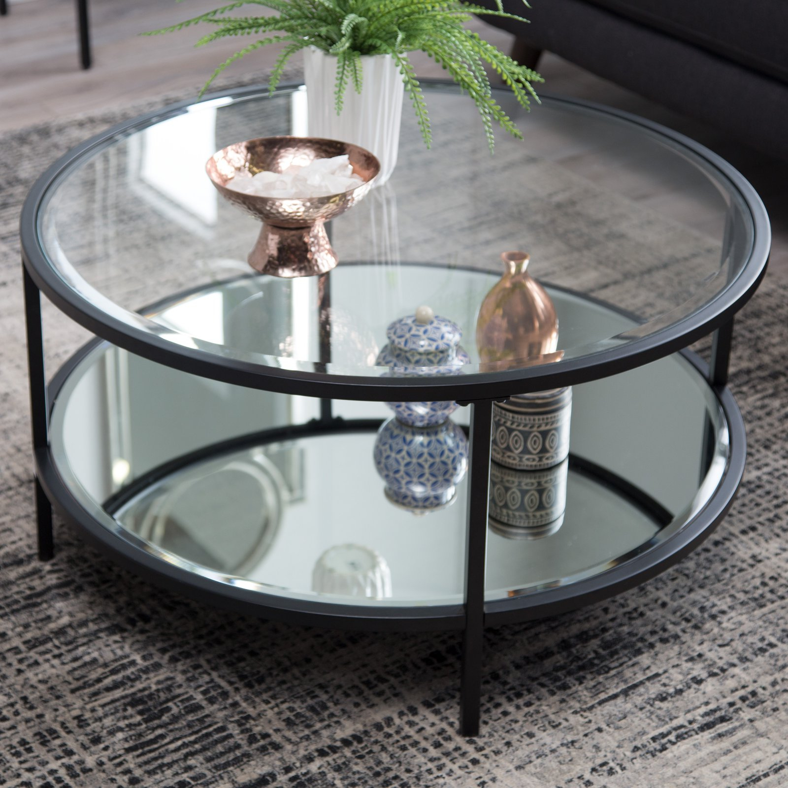 2020 Coaster Company Silver Glass Coffee Tables Within Details About Coffee Table Modern Black Metal Round Glass Home Living Room  Decor Furniture New (Gallery 16 of 20)