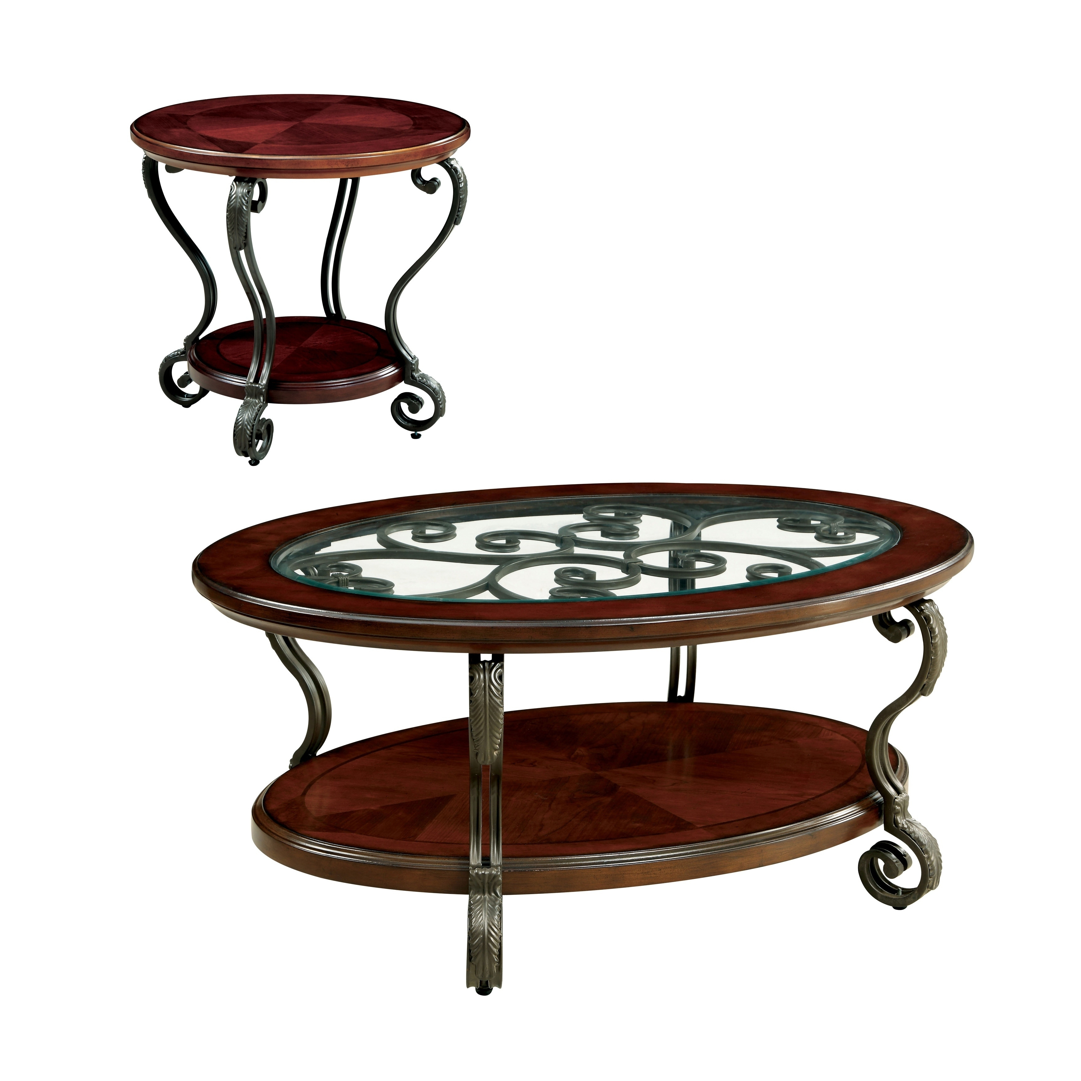 2020 Cohler Traditional Brown Cherry Oval Coffee Tables Throughout Cherry Coffee Table Set – Photos Table And Pillow (View 11 of 20)
