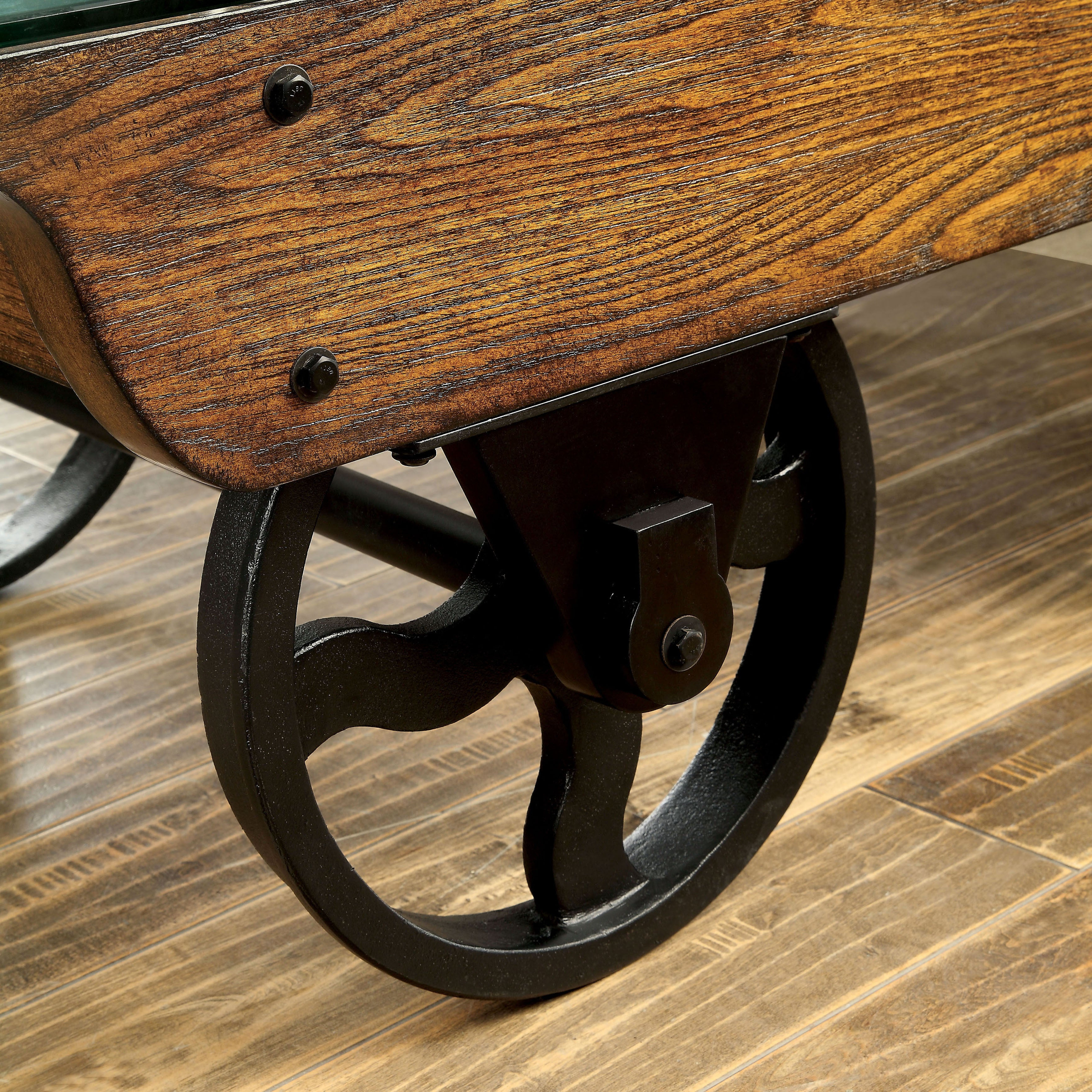 2020 Furniture Of America Charlotte Weathered Oak Glass Top Coffee Tables Regarding Furniture Of America Charlotte Weathered Oak Glass Top Coffee Table (View 3 of 20)