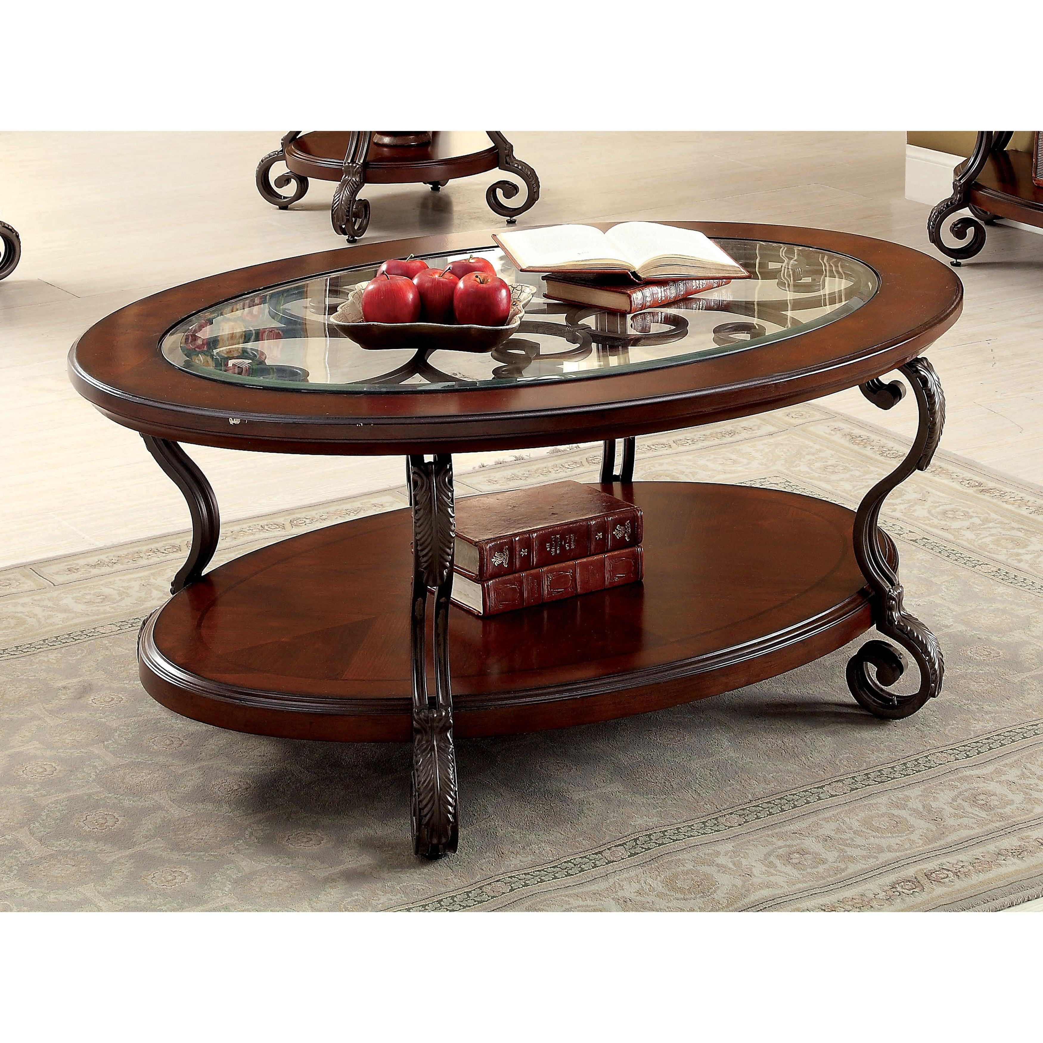 2020 Furniture Of America Crescent Dark Cherry Glass Top Oval Coffee Tables For Glass Top Oval Coffee Table – Interior Design Ideas (View 2 of 20)