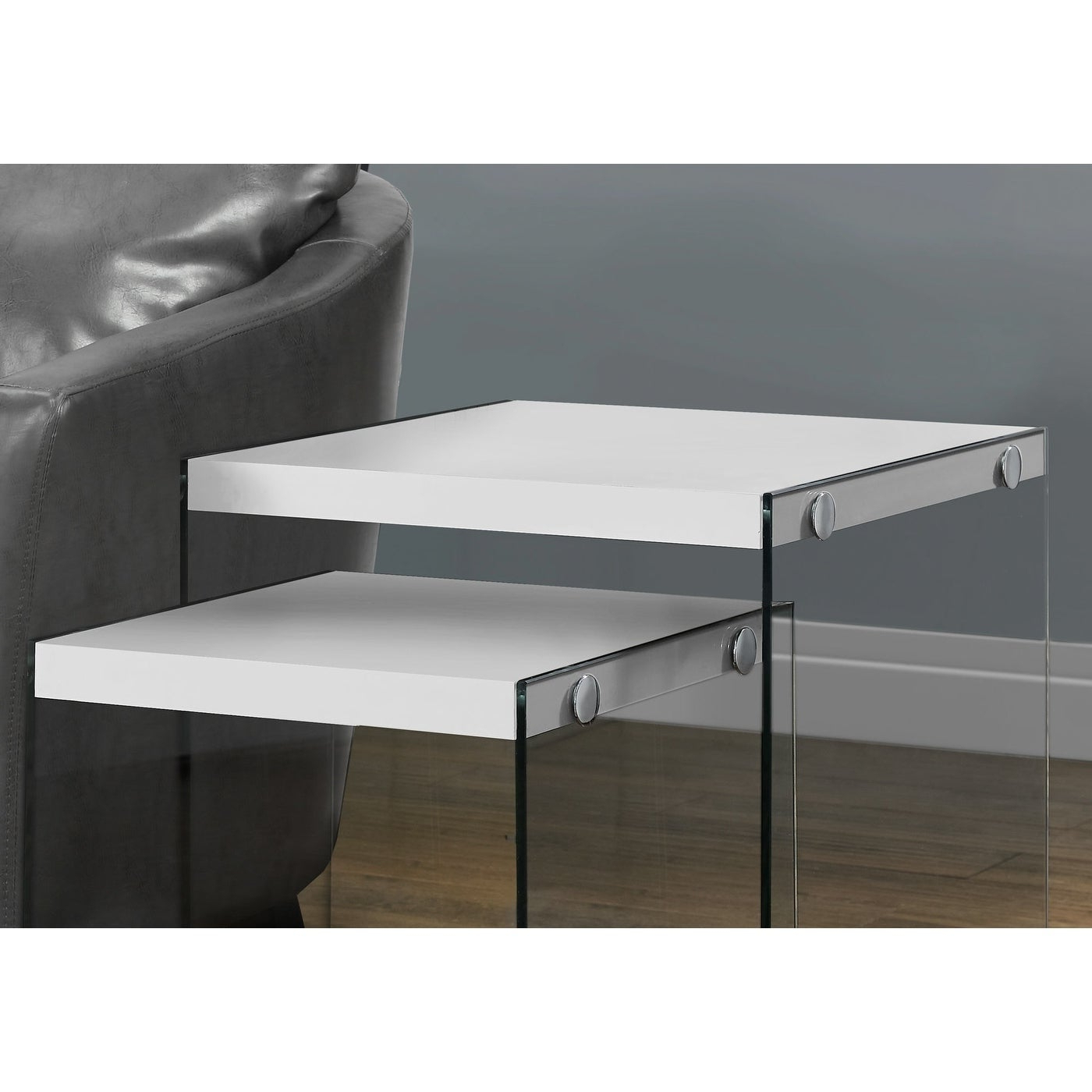 2020 Glossy White Hollow Core Tempered Glass Cocktail Tables In Glossy White Tempered Glass 2 Piece Nesting Table Set (View 11 of 20)
