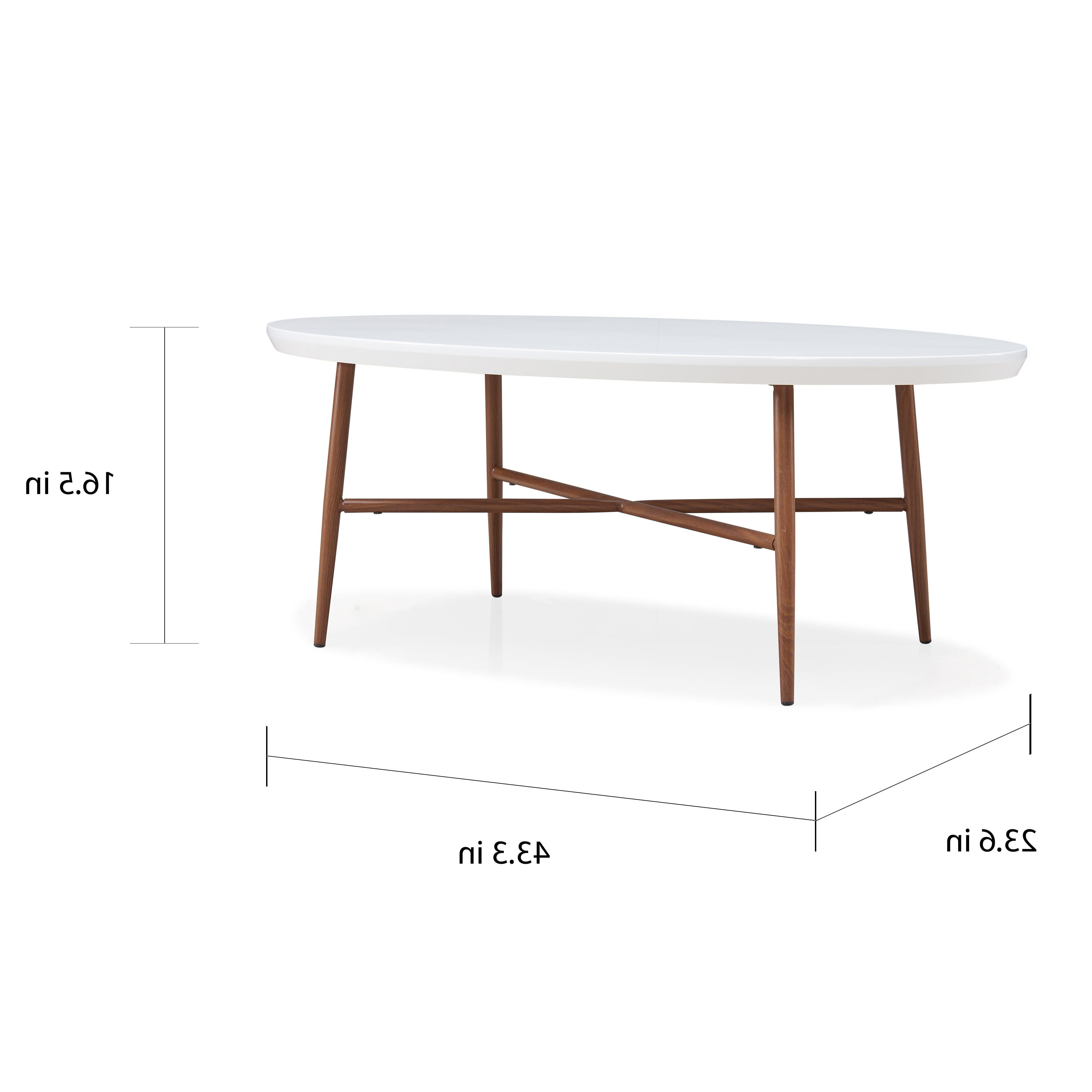 2020 Handy Living Miami White Oval Coffee Tables With Brown Metal Legs With Handy Living Miami White Oval Coffee Table With Brown Metal Legs (View 4 of 20)