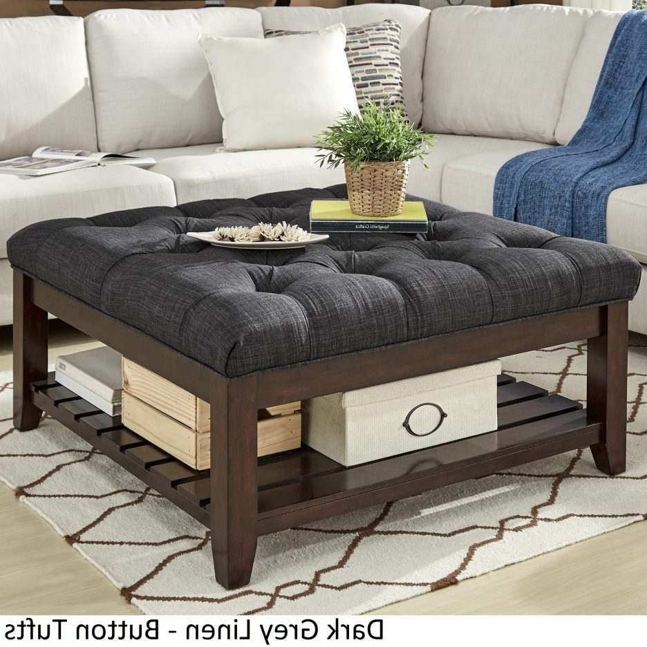 2020 Lennon Pine Planked Storage Ottoman Coffee Tables Regarding Coffee Table With Seating Oversized Tufted Ottoman Silver (View 2 of 20)