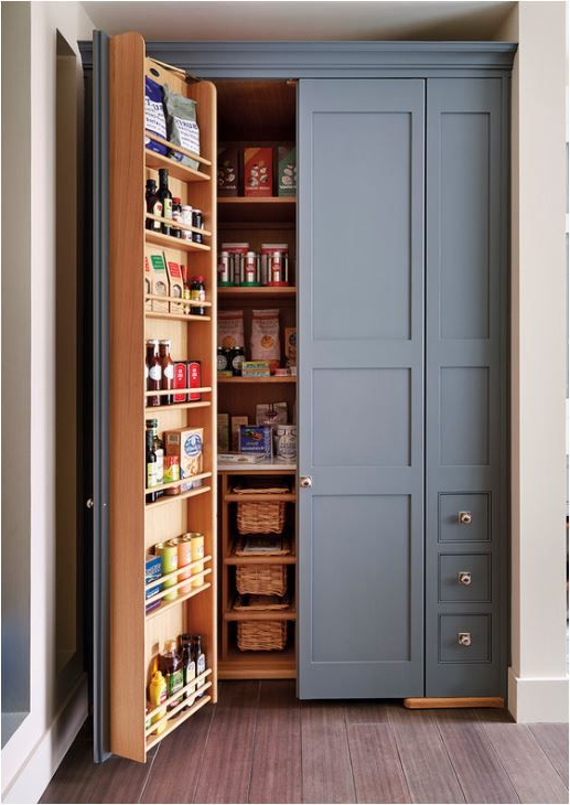 2020 Renteria Kitchen Pantry With Regard To Built In Pantry, Beautiful Slate Blue Color (Gallery 16 of 20)