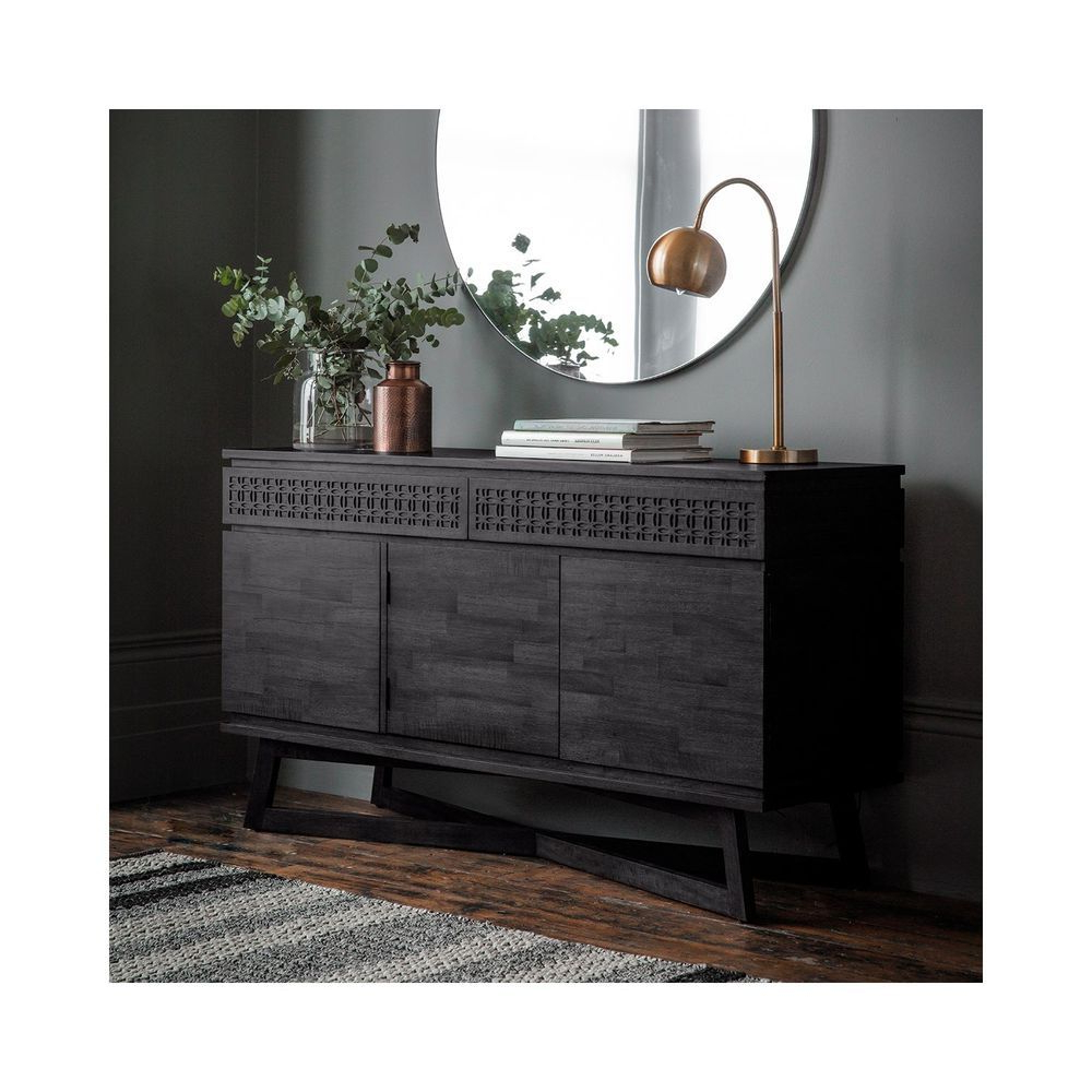 3 Door Sideboard 2 Drawer Storage Cabinet Dark Wood Finish Within Tate Sideboards (View 7 of 20)