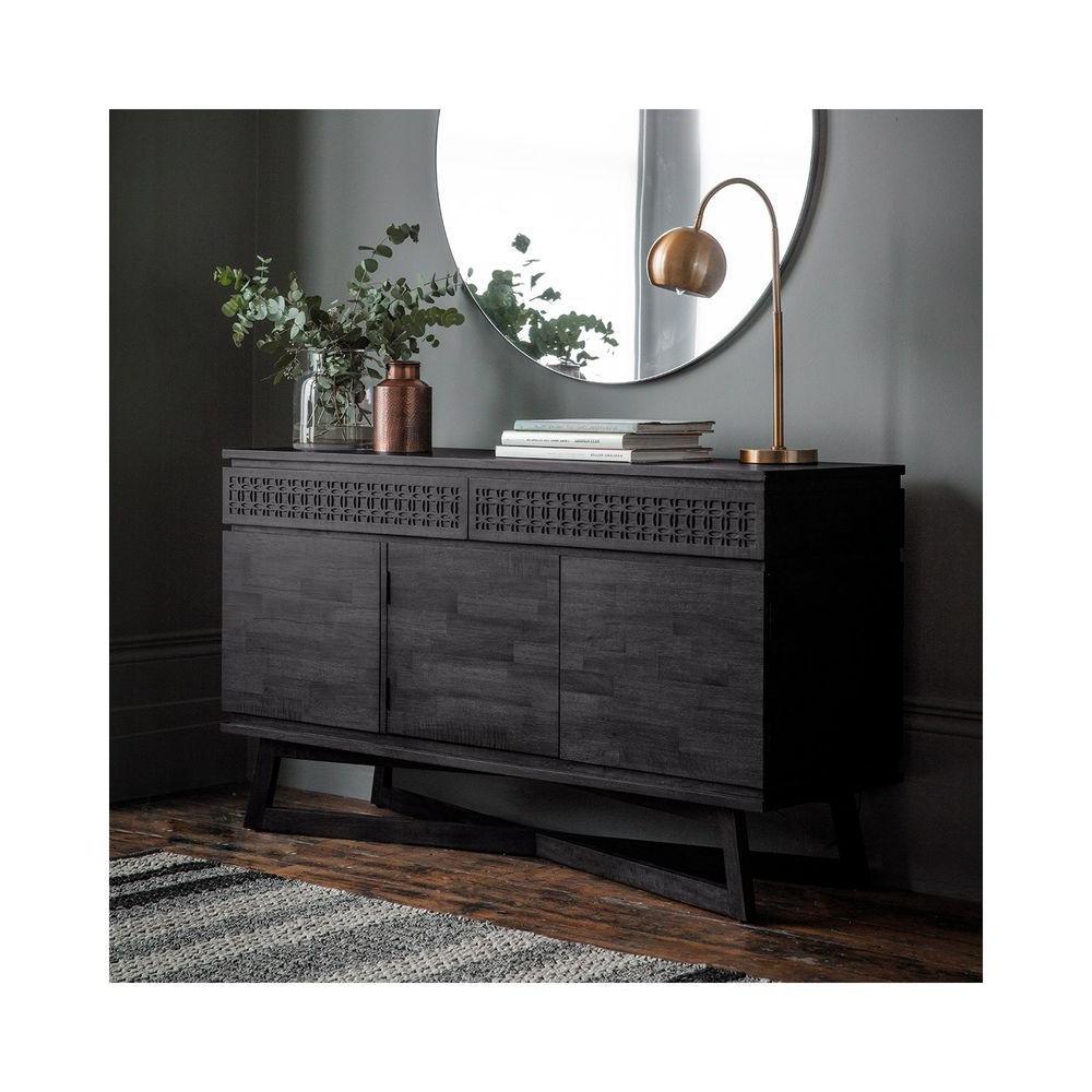 3 Door Sideboard 2 Drawer Storage Cabinet Dark Wood Finish Within Tate Sideboards (Gallery 7 of 20)