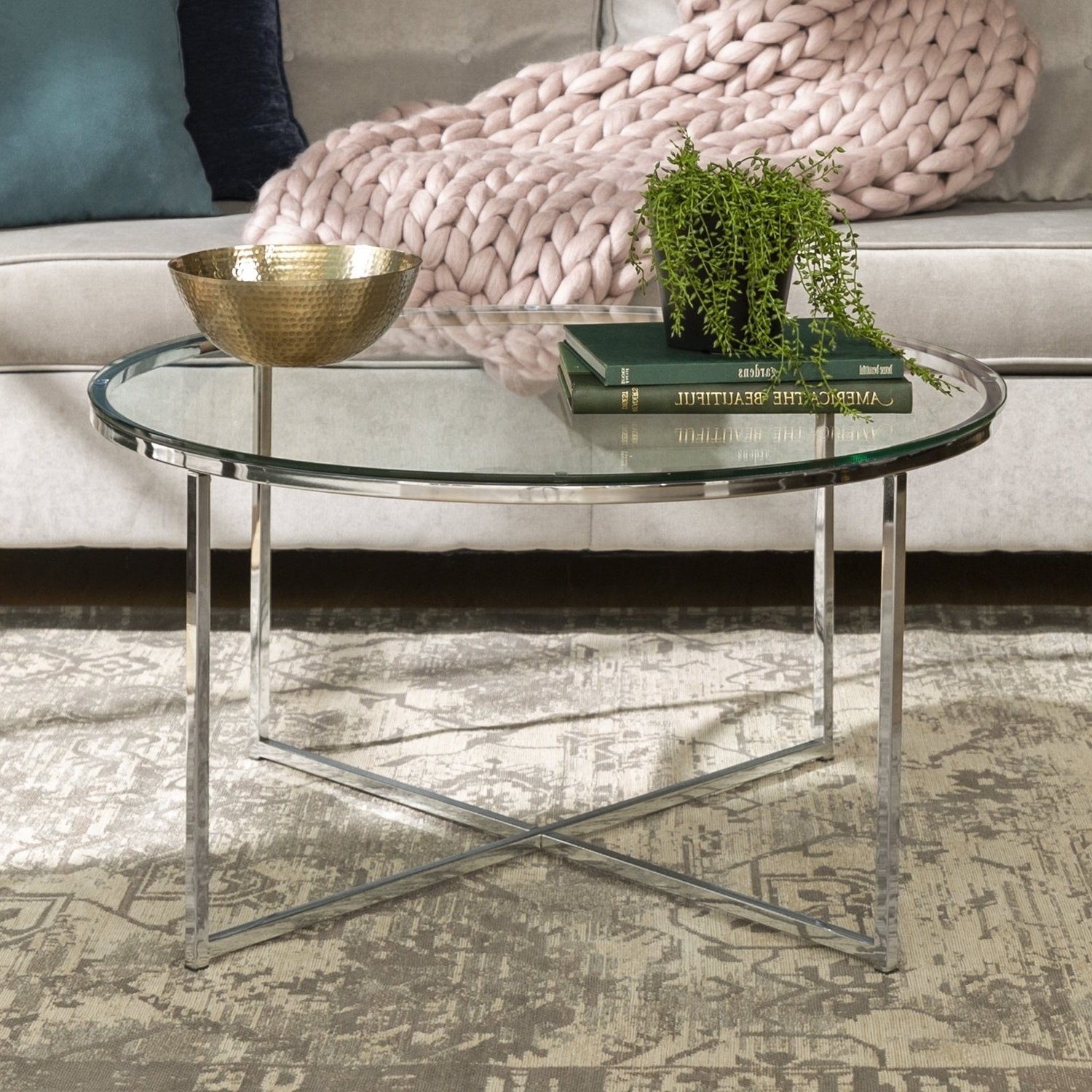 """36"""" Round Glass Coffee Table With Metal X Base – Chrome With Most Current Elowen Round Glass Coffee Tables (Gallery 8 of 20)"""