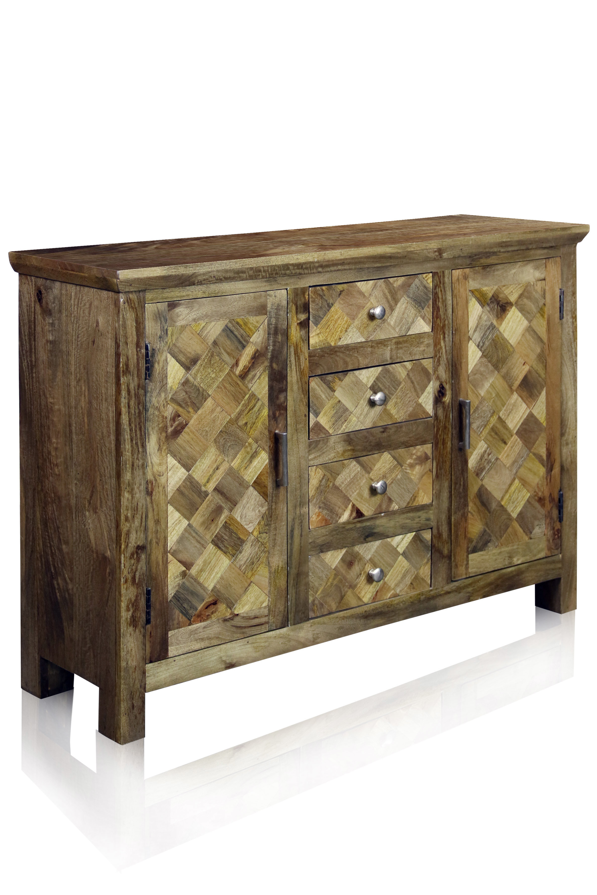 4Drawer Server With 2 Doors And Central Wine Bottle Storage In Malibu 2 Door 4 Drawer Sideboards (View 2 of 20)