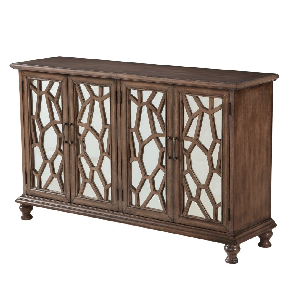 """60"""" Credenza Accent Cabinet With Four Wooden Mirrored Doors In Brown Finish Pertaining To Candace Door Credenzas (Gallery 6 of 20)"""