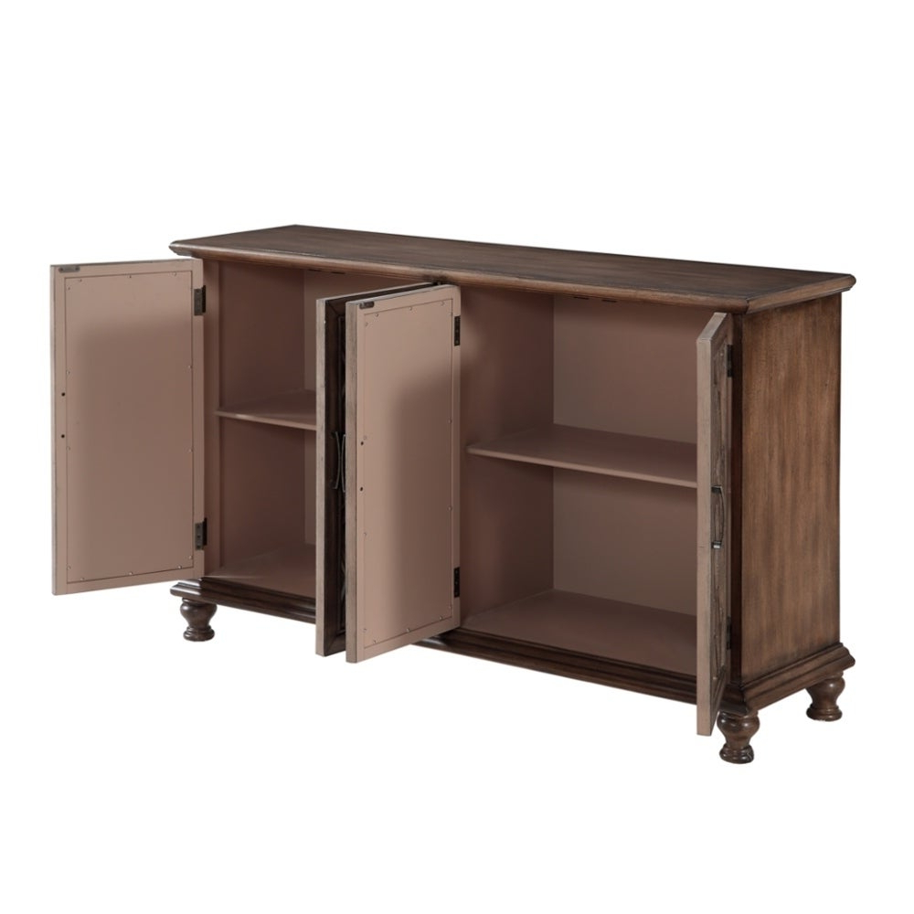 "60"" Credenza Accent Cabinet With Four Wooden Mirrored Doors In Brown Finish Within Candace Door Credenzas (View 5 of 20)"