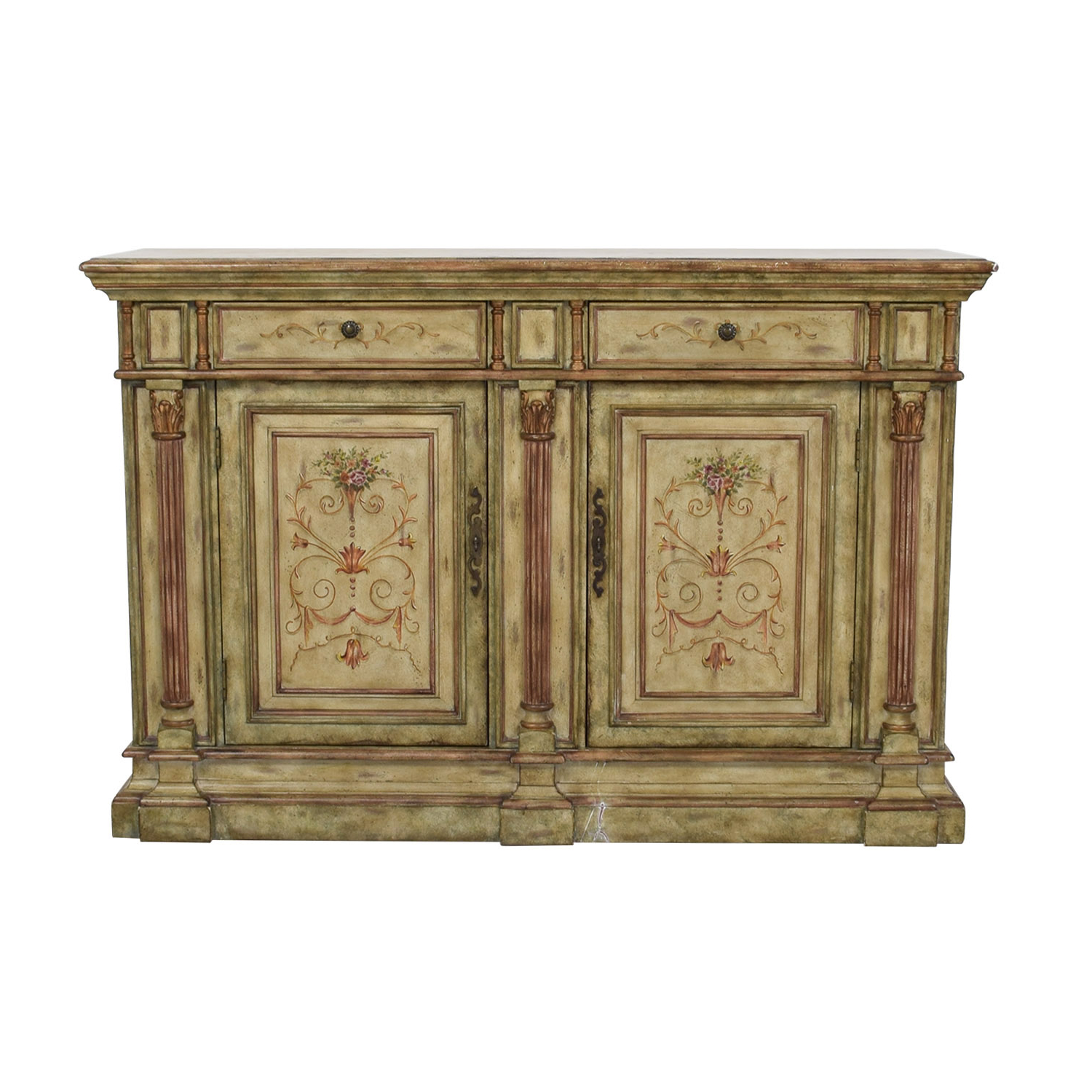 78% Off – Hooker Furniture Hooker Furniture Seven Seas Creme Scroll Painted Sideboard / Storage Pertaining To Seven Seas Asian Sideboards (View 3 of 20)