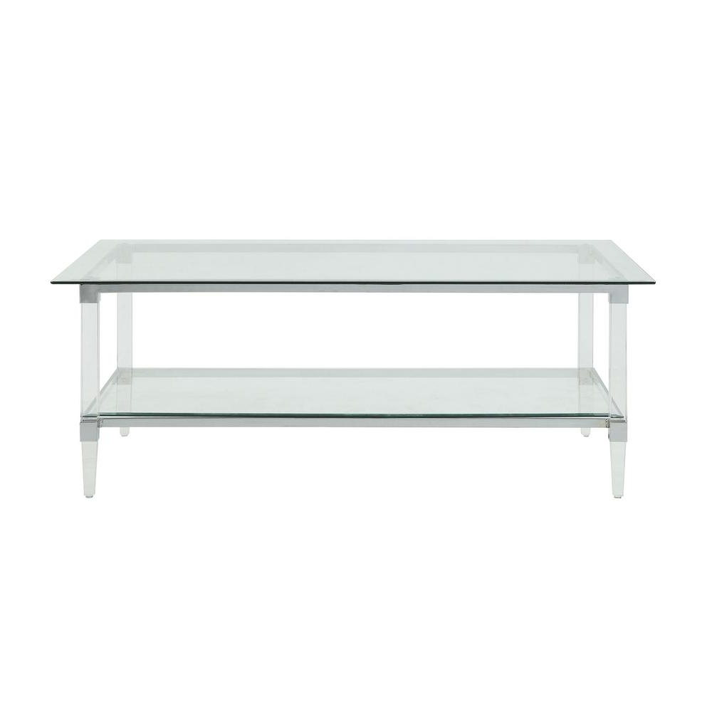 Acme Furniture Polyanthus Clear Acrylic, Chrome And Clear Inside Popular Contemporary Chrome Glass Top And Mirror Shelf Coffee Tables (View 2 of 20)