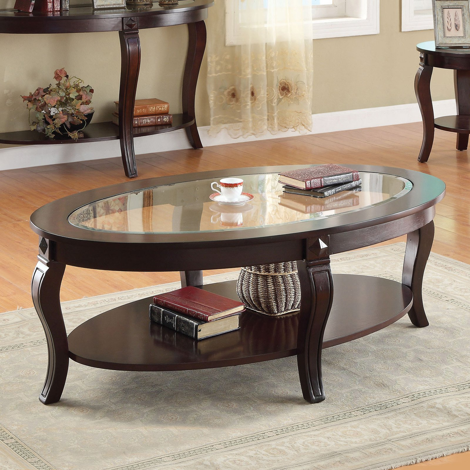 Acme Furniture Riley Walnut And Glass Coffee Table With Regard To Well Known Evalline Modern Dark Walnut Coffee Tables (View 3 of 20)