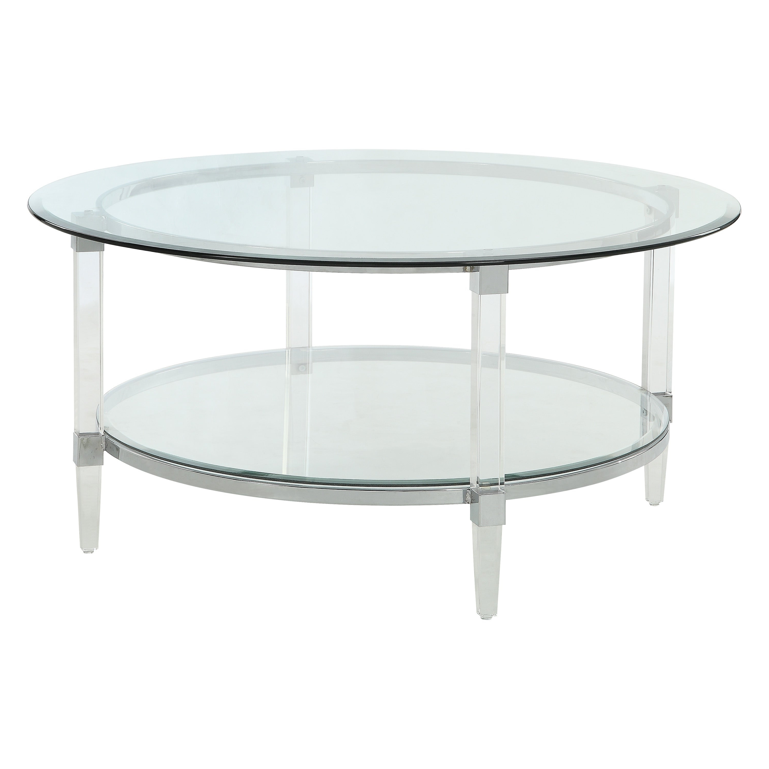 Acme Polyanthus Coffee Table, Clear Acrylic, Chrome & Clear Glass Pertaining To Well Liked Elowen Round Glass Coffee Tables (View 3 of 20)