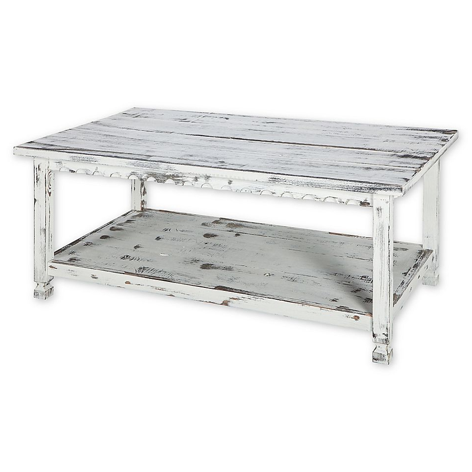 Alaterre Country Cottage Long Coffee Table In Antique White For Newest Alaterre Country Cottage Wooden Long Coffee Tables (View 5 of 20)