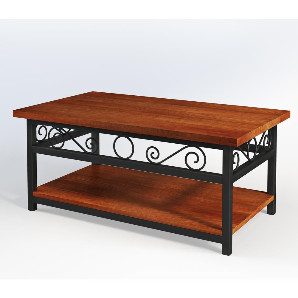 Alaterre Furniture Artesian Brown Scrollwork Coffee Table In Fashionable Alaterre Country Cottage Wooden Long Coffee Tables (View 19 of 20)