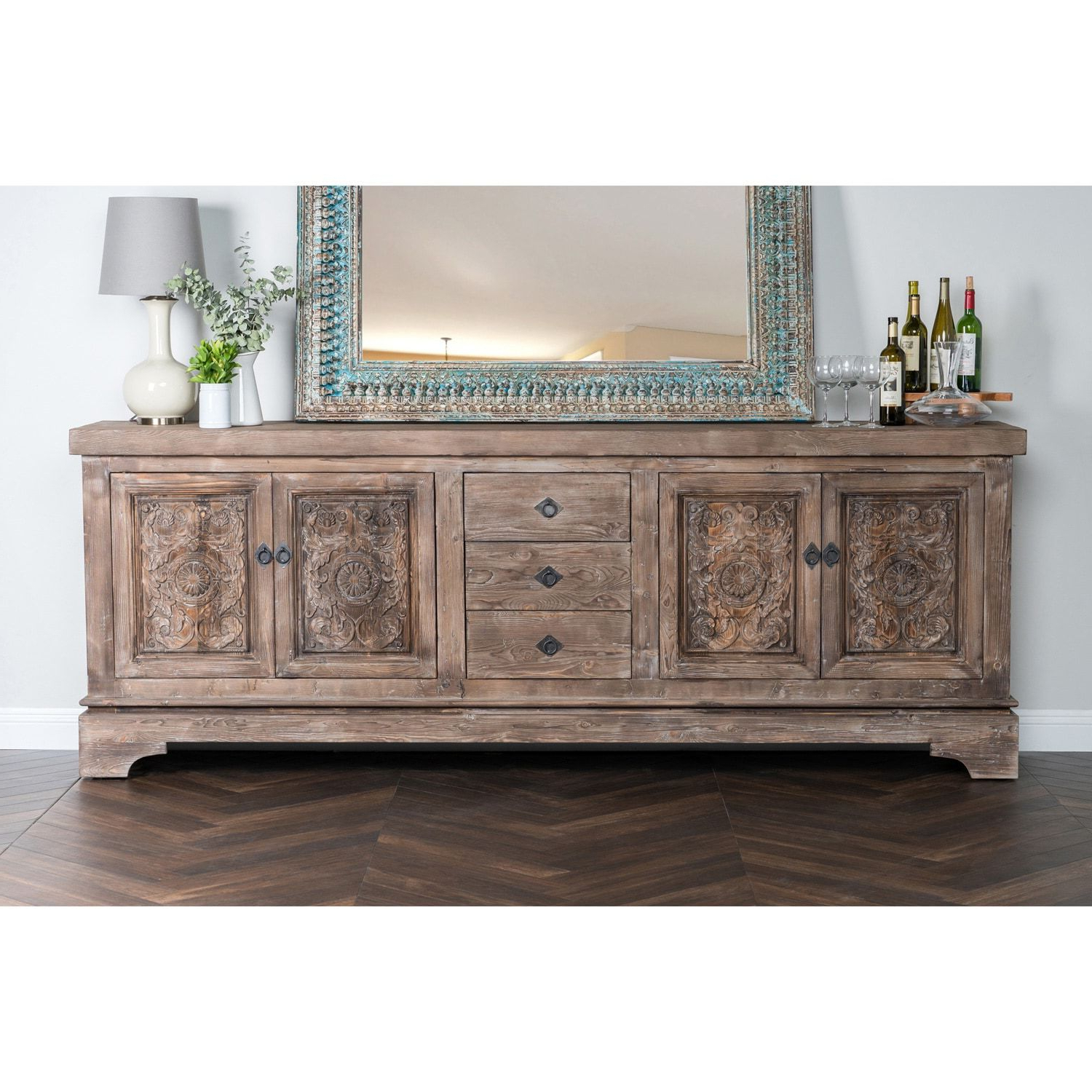 Allen Rustic Taupe Reclaimed Pine 106 Inch Sideboard Within Haroun Mocha Sideboards (View 8 of 20)