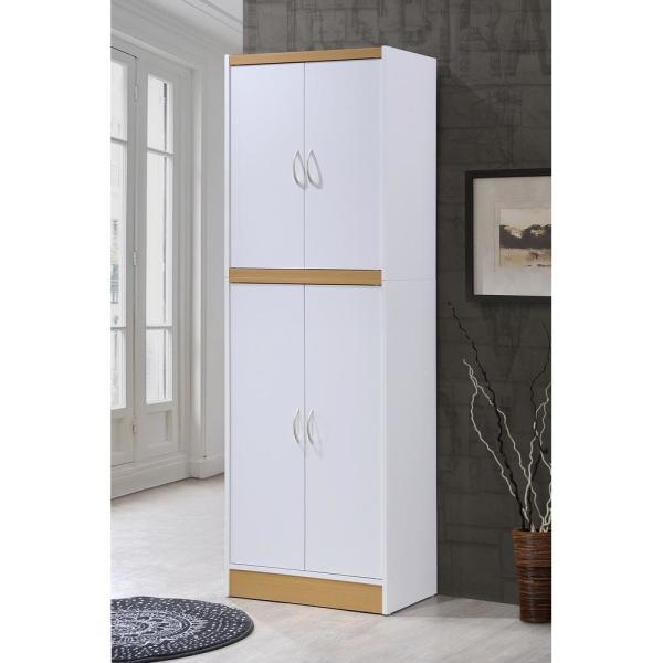 Amaia 3 Piece Kitchen Pantry Throughout Current Hodedah 4 Door White Kitchen Pantry Hi224 White – The Home Depot (View 3 of 20)