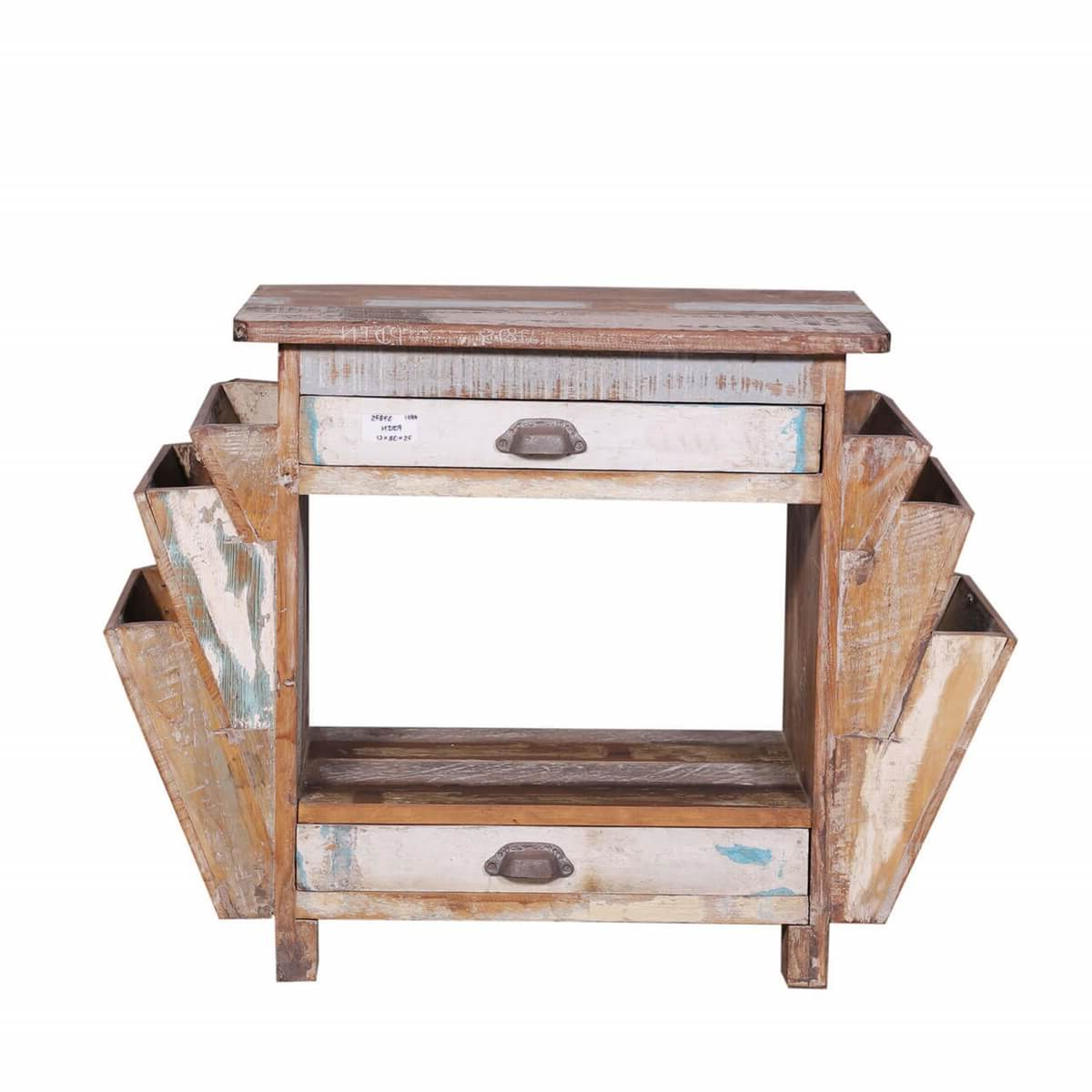 Ames Rustic Reclaimed Wood End Table With Double Magazine Rack Regarding Ames Sideboards (View 2 of 20)