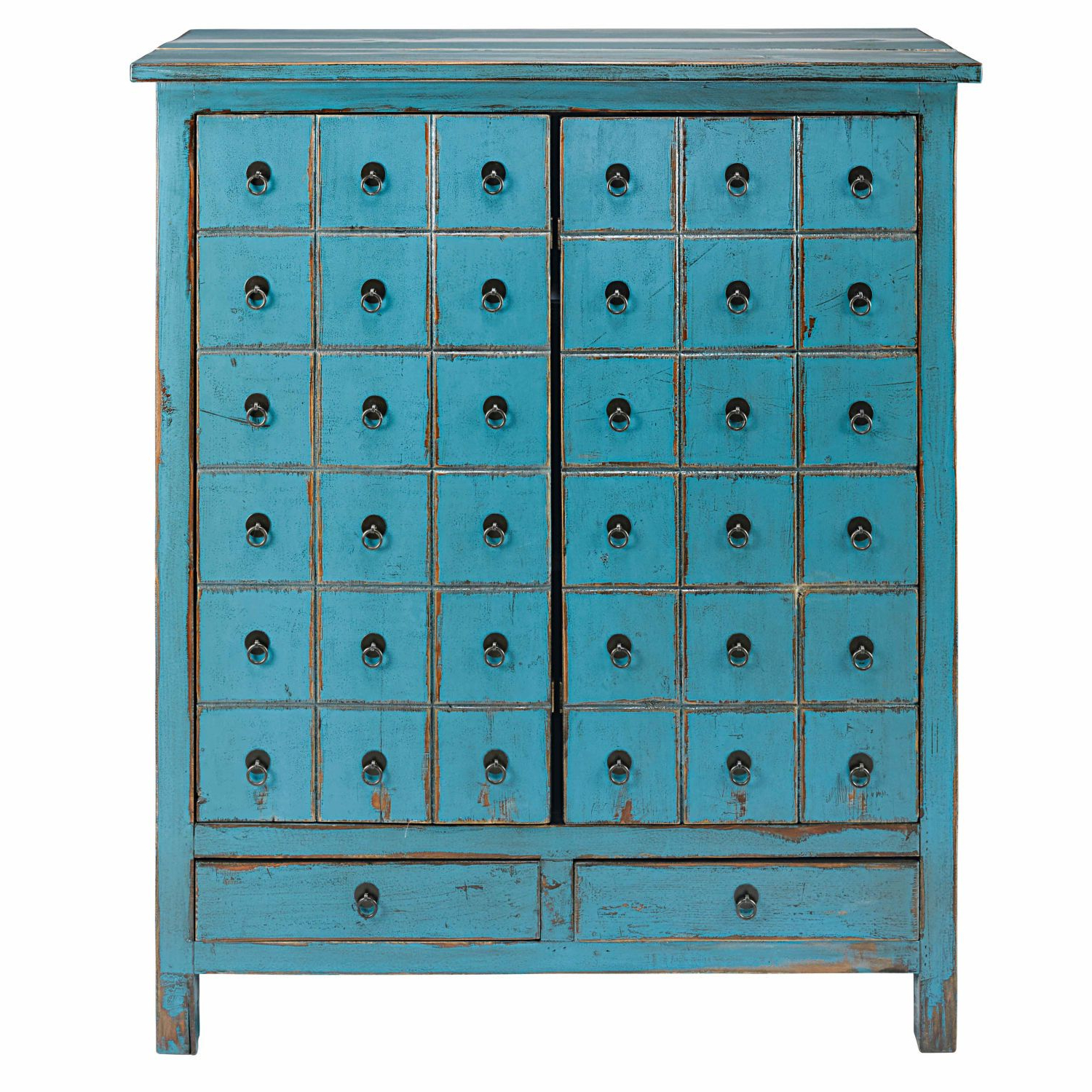 Antique Blue Pine 2 Door, 2 Drawer Cabinet In 2019 | Living Intended For Whitten Sideboards (View 11 of 20)