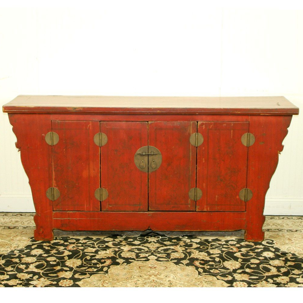"""Antique Chinese Asian 69"""" Long Red Sideboard Buffet Cabinet Inside Seven Seas Asian Sideboards (View 12 of 20)"""