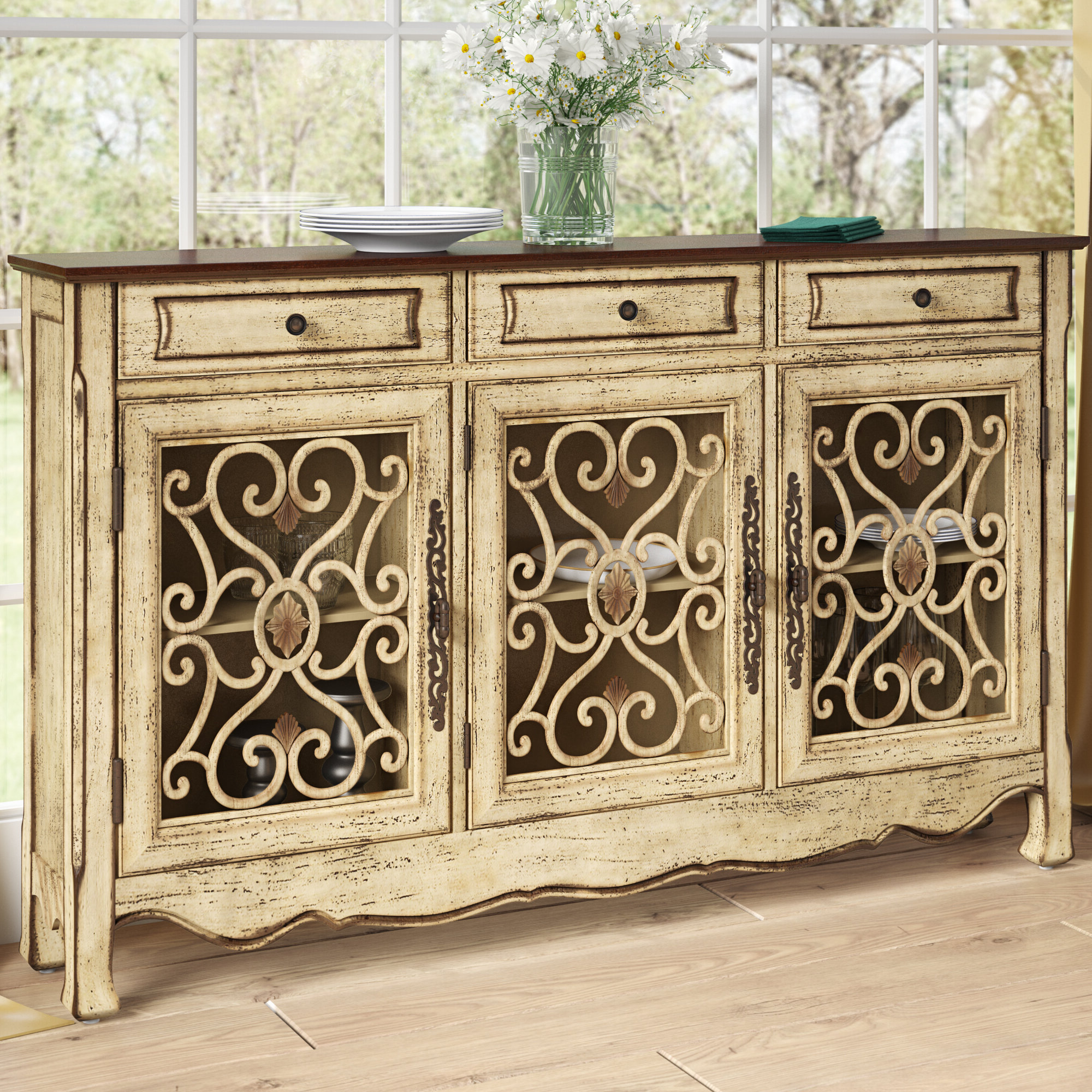 Antique Green Sideboard | Wayfair Inside Knoxville Sideboards (View 2 of 20)