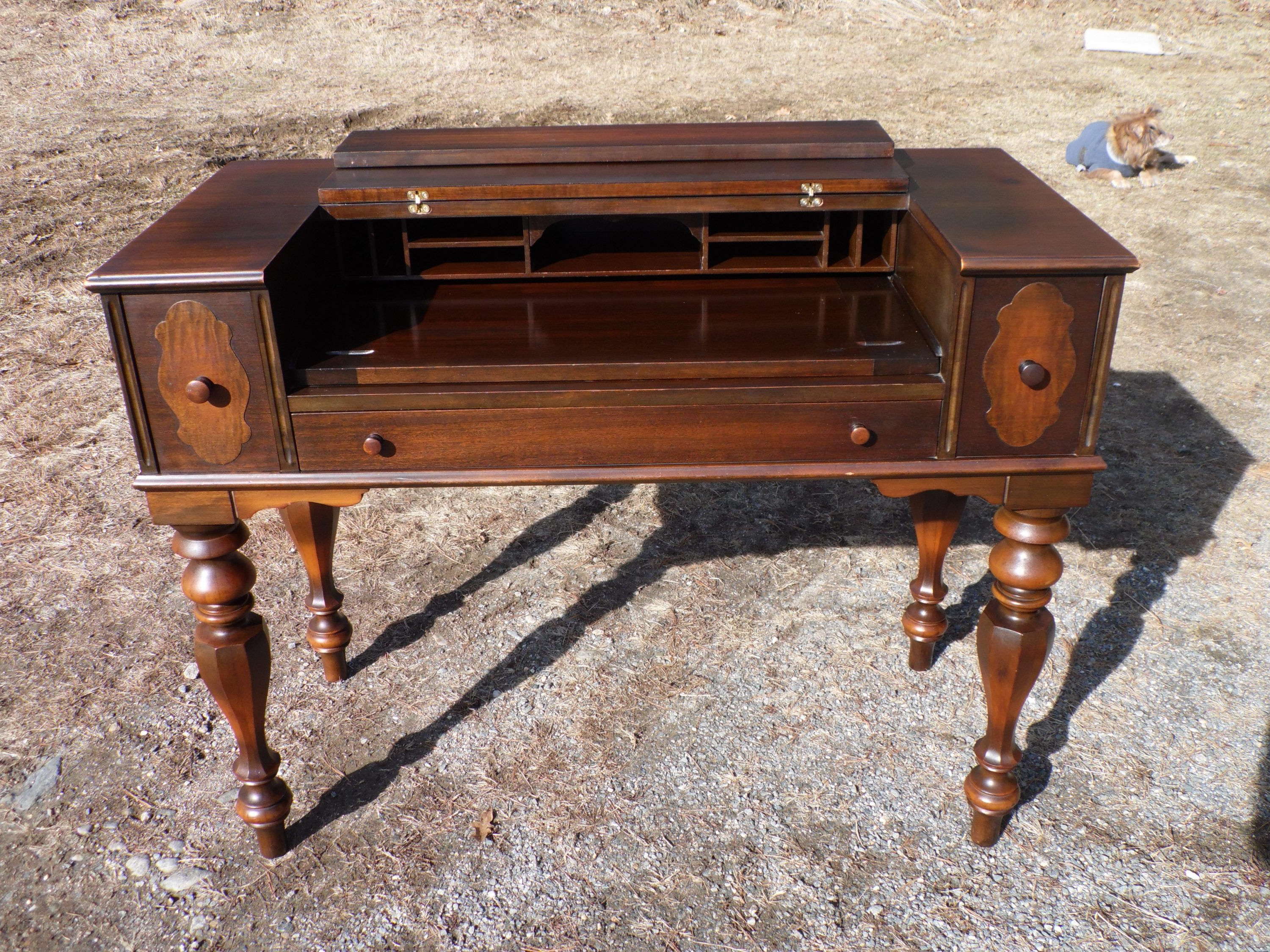 Antique Walnut Empire Flip Top Ladies Writing Spinet Desk With Barr Credenzas (View 16 of 20)