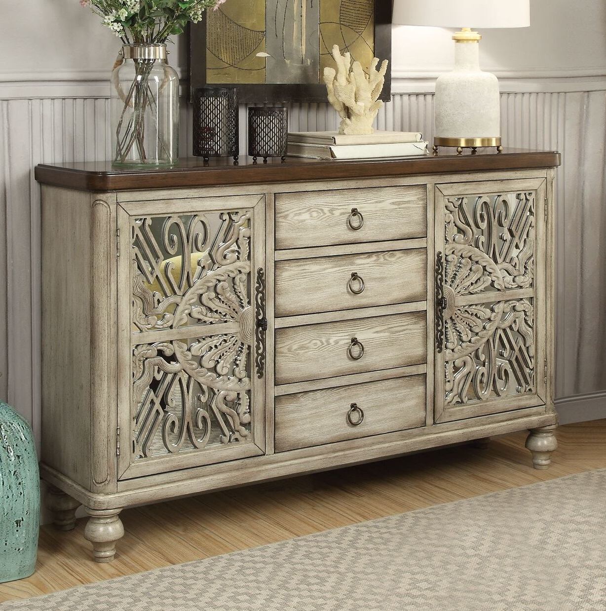 Antique White Sideboard Buffet | Wayfair (View 14 of 20)