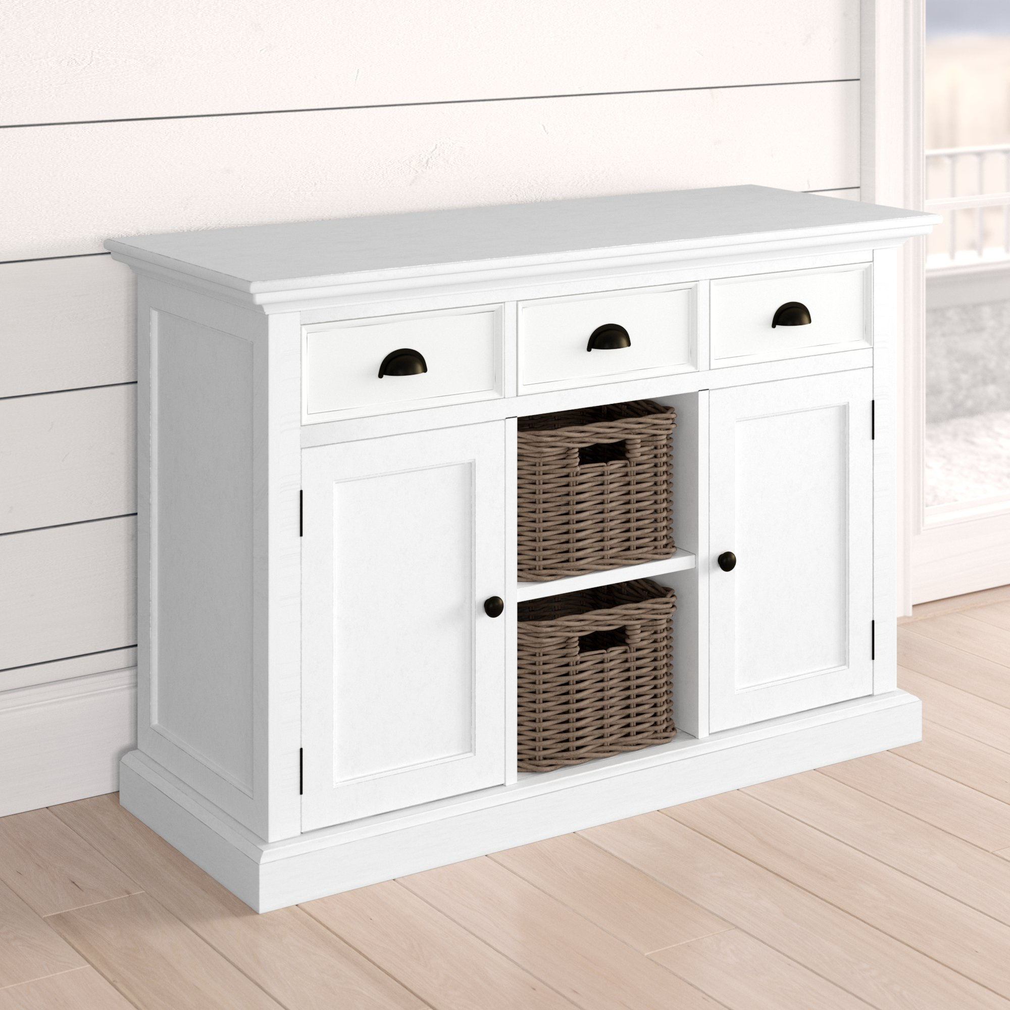Beachcrest Home Amityville Wood Server & Reviews | Wayfair Inside Amityville Sideboards (View 8 of 20)