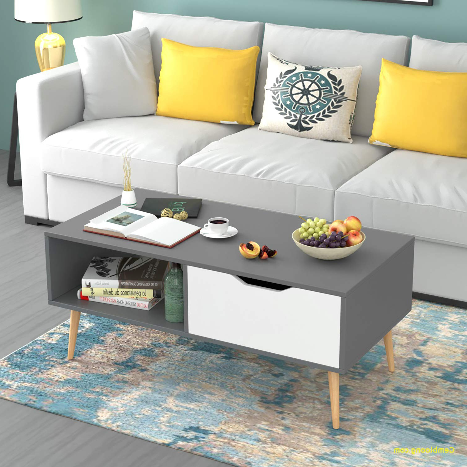 Beautiful Gray And White Coffee Table – Coffee Table Design Pertaining To Trendy Arella Ii Modern Distressed Grey White Coffee Tables (View 7 of 20)