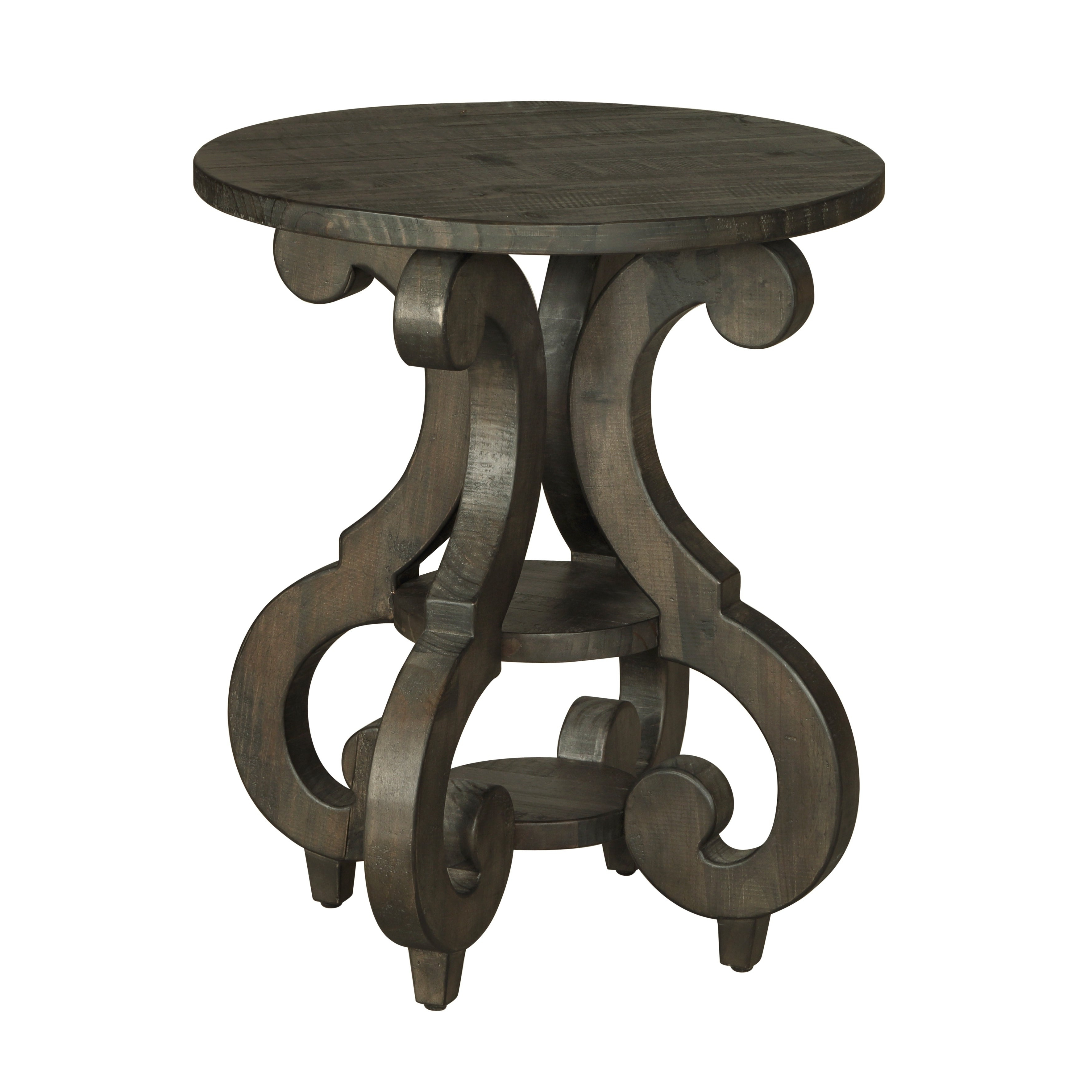 Bellamy Traditional Weathered Peppercorn Round Accent Table With 2020 Bellamy Traditional Weathered Peppercorn Storage Coffee Tables (View 6 of 20)
