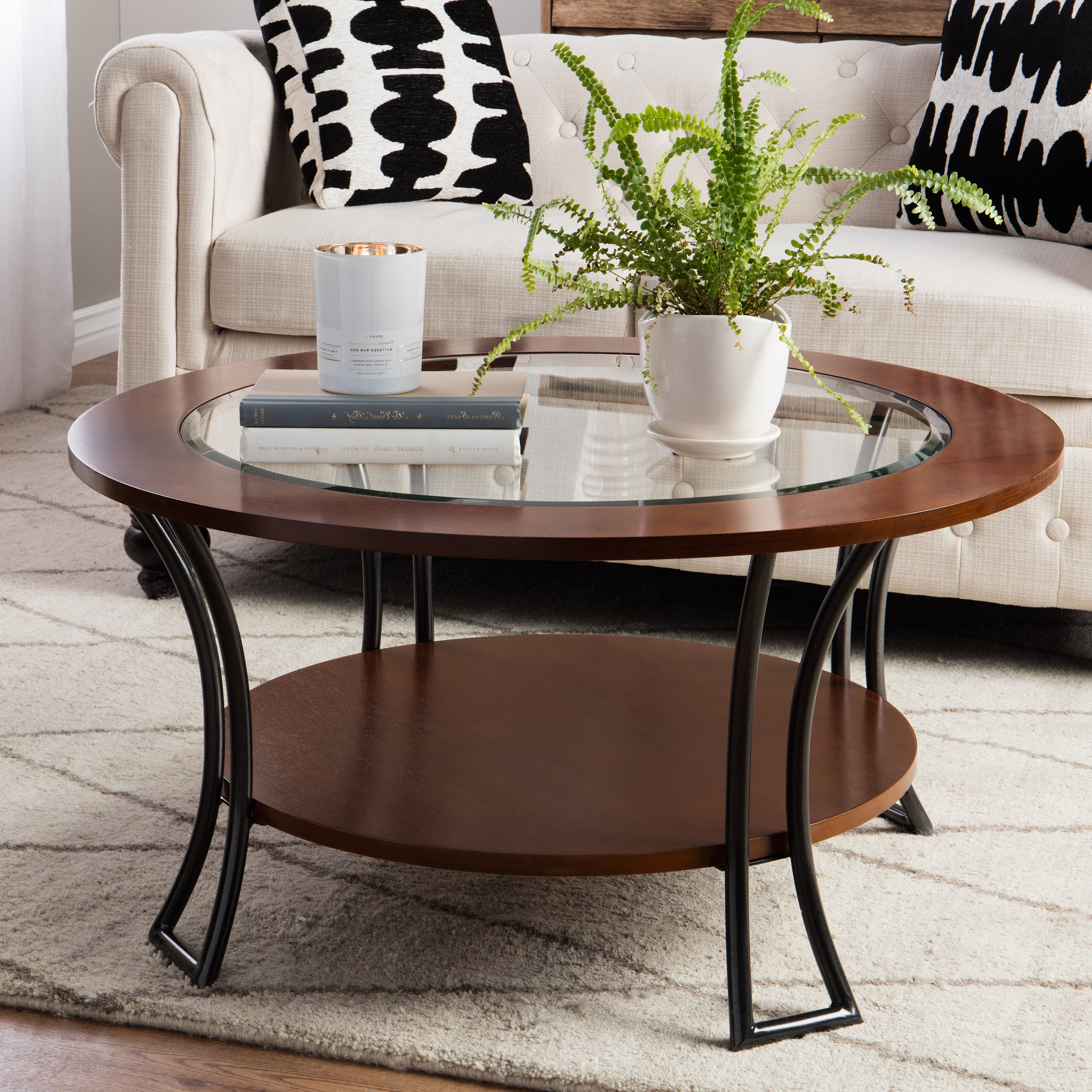 Best And Newest Copper Grove Halesia Chocolate Bronze Round Coffee Tables In Copper Grove Carlisle Walnut/ Charcoal Grey Round Coffee Table (View 3 of 20)