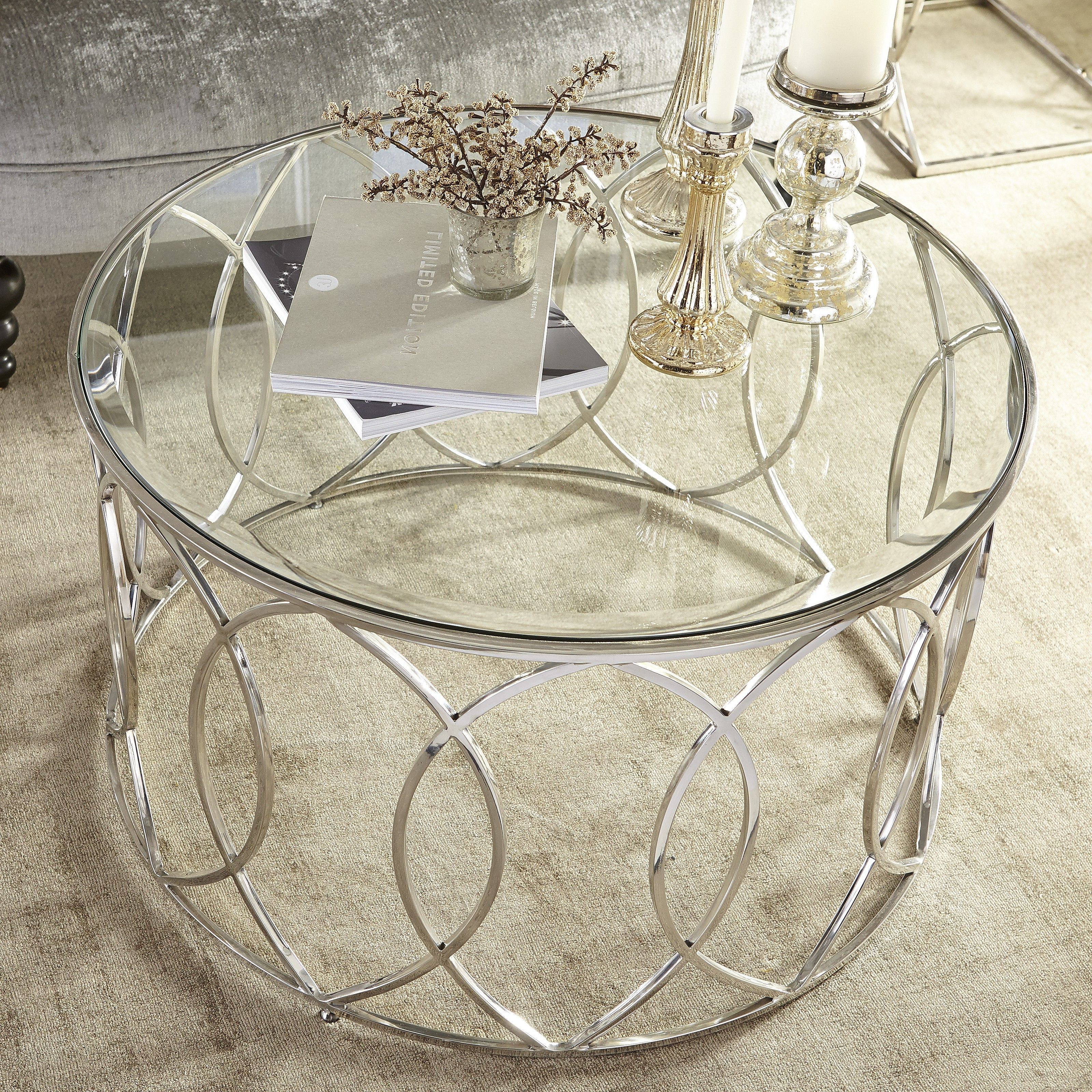 Best And Newest Elowen Round Glass Coffee Tables Within Elana Silver Stainless Steel Round Coffee Table (View 4 of 20)