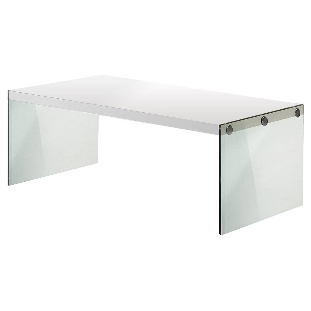 Best And Newest Glossy White Hollow Core Tempered Glass Cocktail Tables For Monarch Coffee Table, Glossy White And Tempered Glass (View 3 of 20)