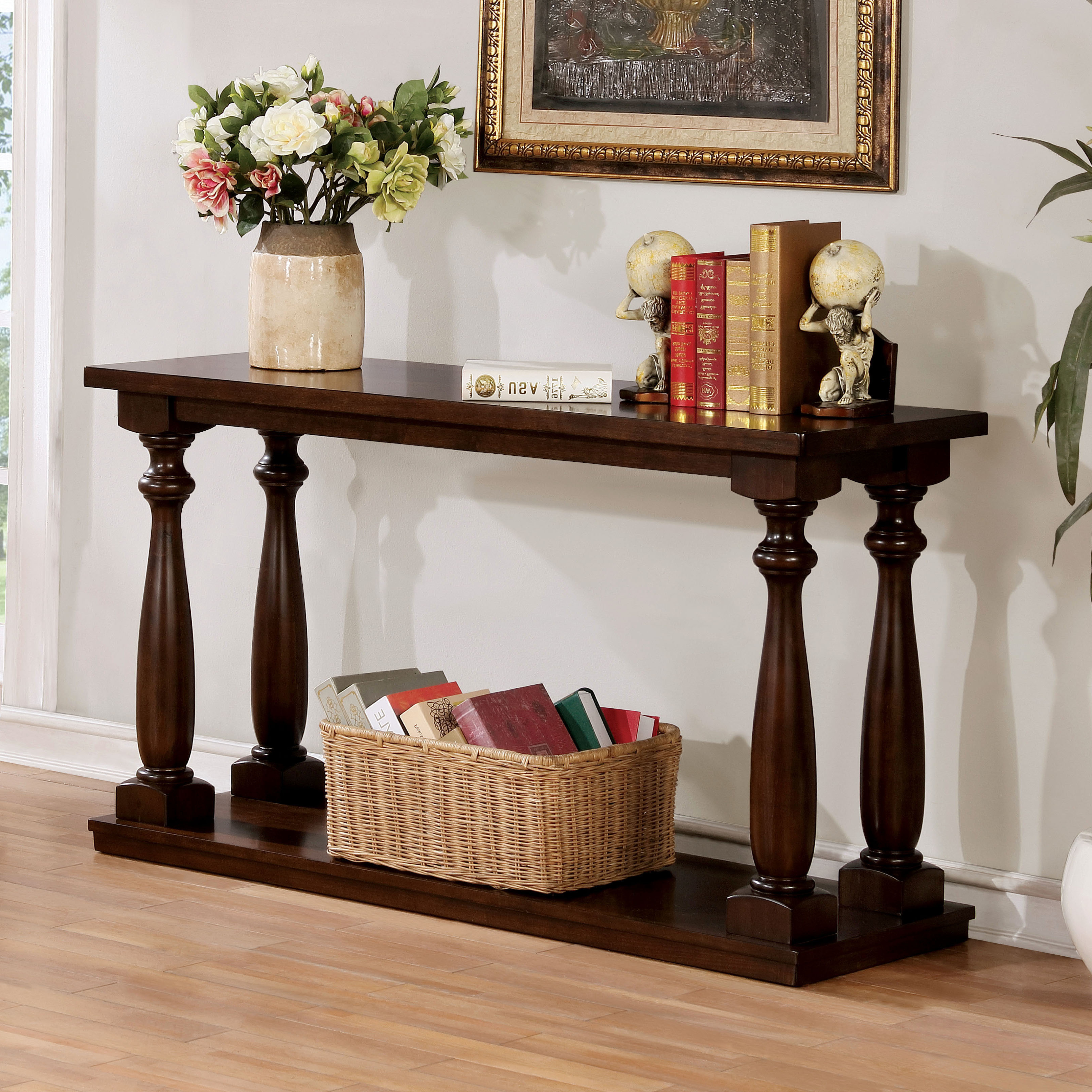 Best And Newest Jessa Rustic Country 54 Inch Coffee Tables With Regard To Furniture Of America Jessa Rustic Country Style Open 54 Inch Wood Sofa Table (View 12 of 20)