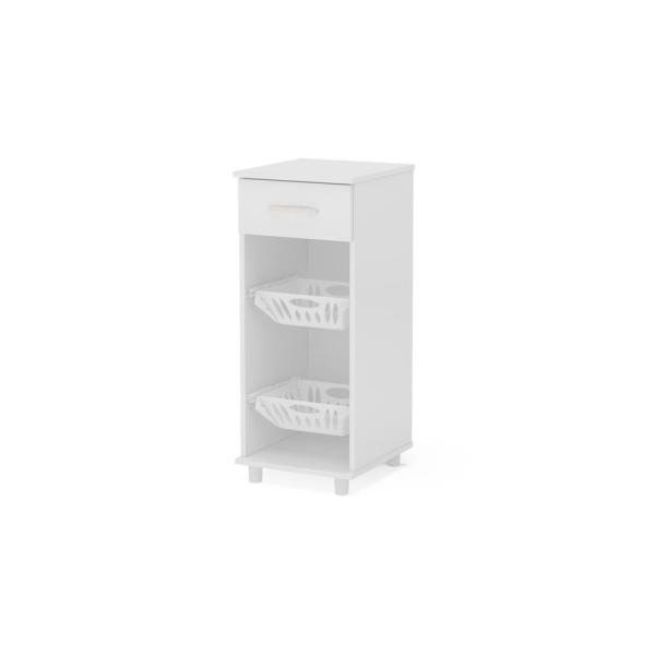 Best And Newest Milford White Compact Cabinet With 2 Baskets 33420001 – The Pertaining To Milford Kitchen Pantry (View 1 of 20)