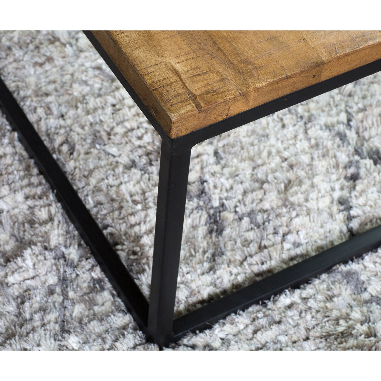 Best And Newest Paris Natural Wood And Iron 30 Inch Square Coffee Tables For Paris Natural Wood And Iron 30 Inch Square Coffee Tablekosas Home (View 3 of 20)