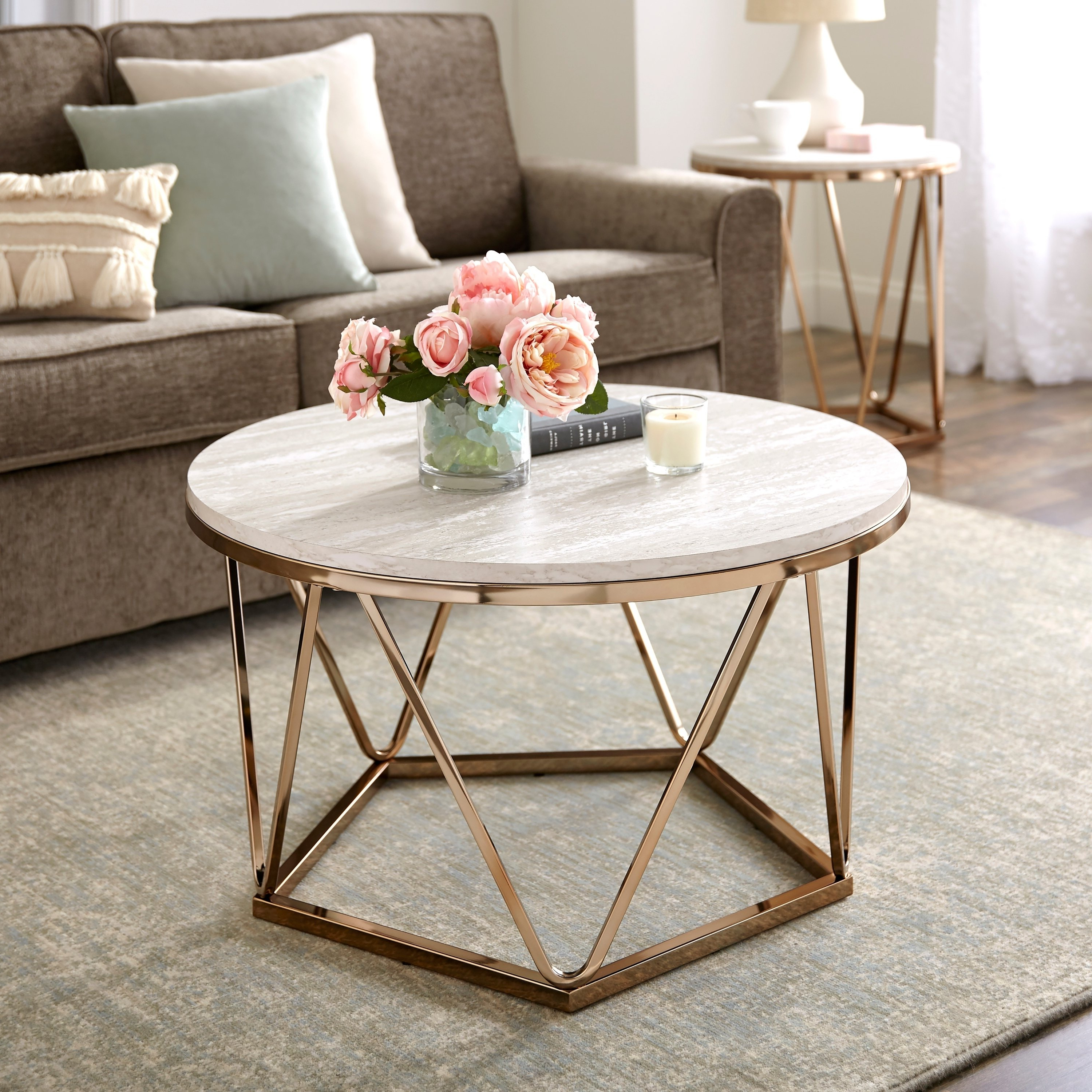Best And Newest Silver Orchid Henderson Faux Stone Round End Tables Throughout Silver Orchid Henderson Faux Stone Round Coffee Table, Gold (View 2 of 20)