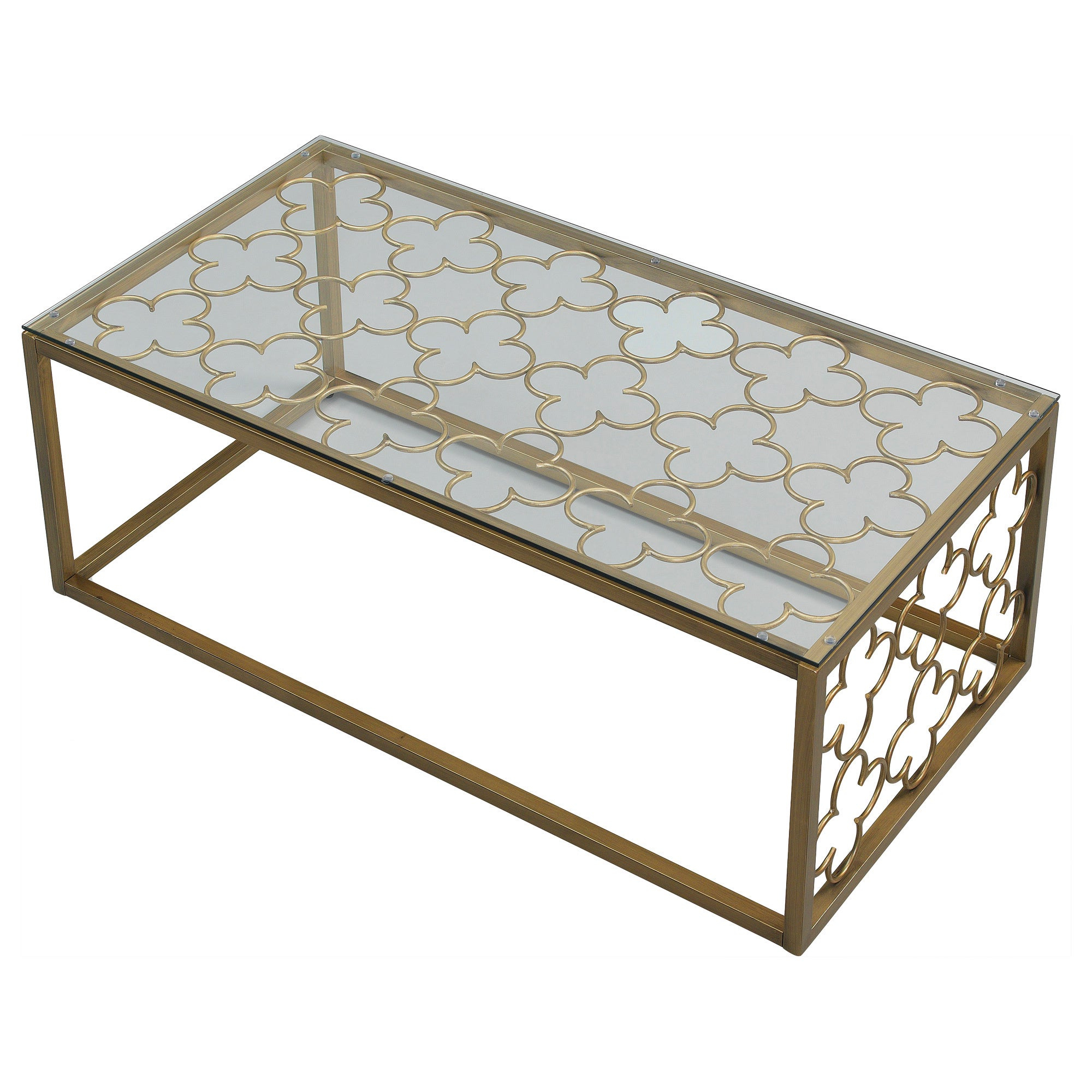 Best And Newest The Curated Nomad Quatrefoil Goldtone Metal And Glass Coffee Tables For The Curated Nomad Quatrefoil Goldtone Metal And Glass Coffee Table (View 2 of 20)