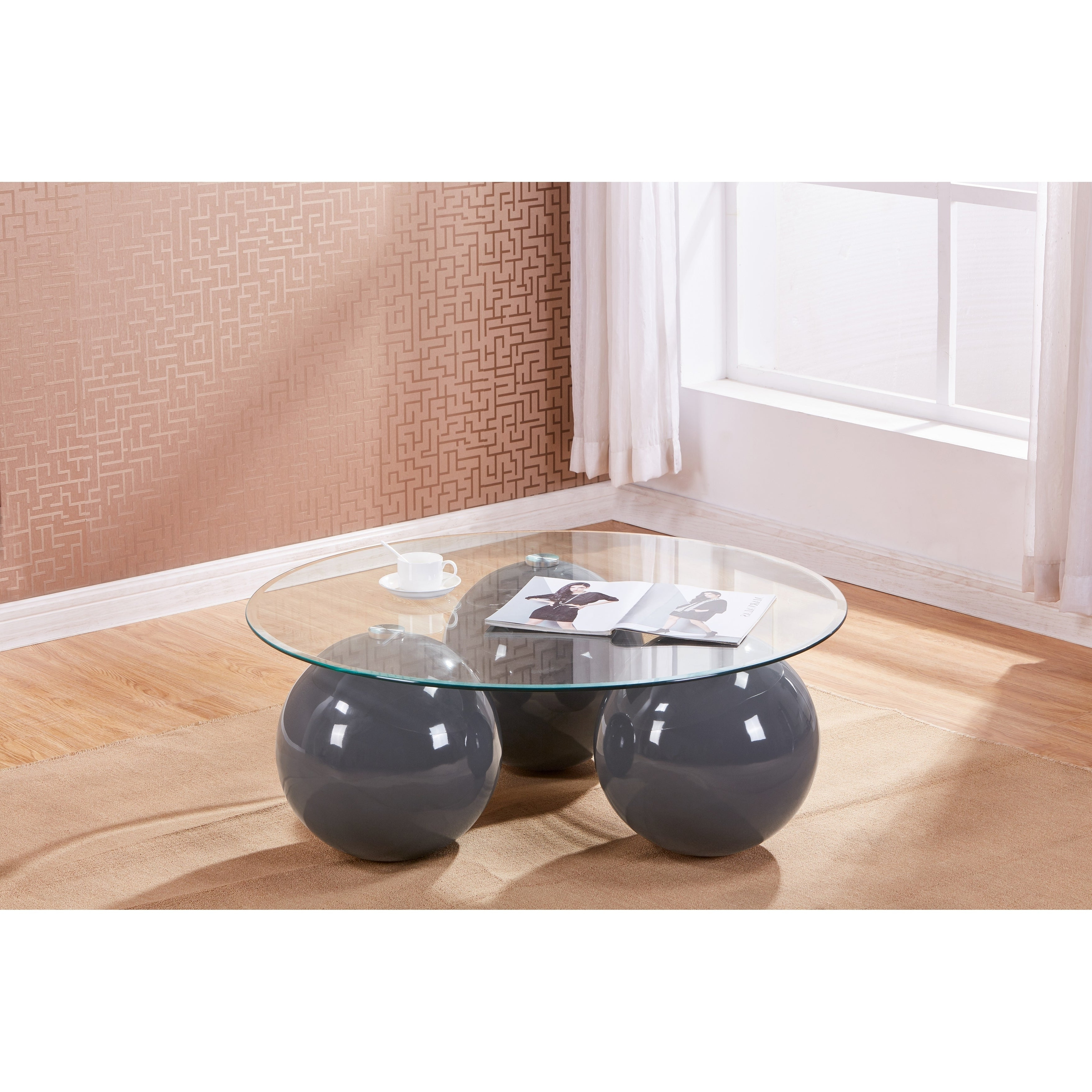 Best Quality Furniture Glass Top Coffee Table With 3 Sphere Base Pertaining To 2020 Strick & Bolton Totte O Shaped Coffee Tables (View 11 of 20)
