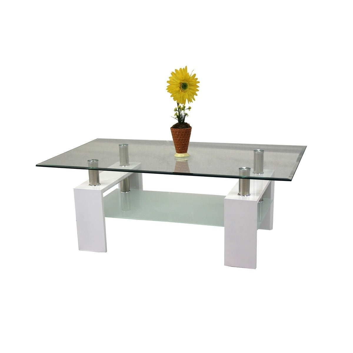 Best Quality Furniture Rectangular Glass Top Coffee Table With Glass Shelf In Latest Finbar Modern Rectangle Glass Coffee Tables (View 2 of 20)